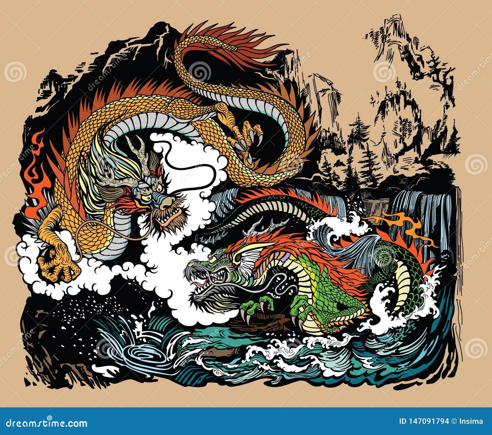 Δύο κινεζικοί δράκοι στο τοπίο