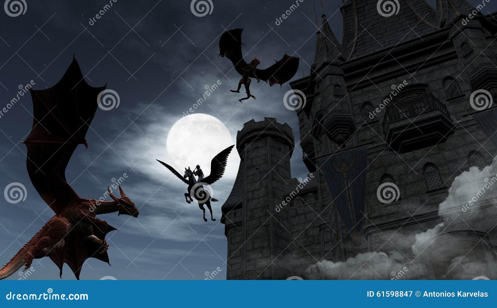 Δύο κόκκινοι δράκοι που επιτίθενται στο κάστρο τη νύχτα