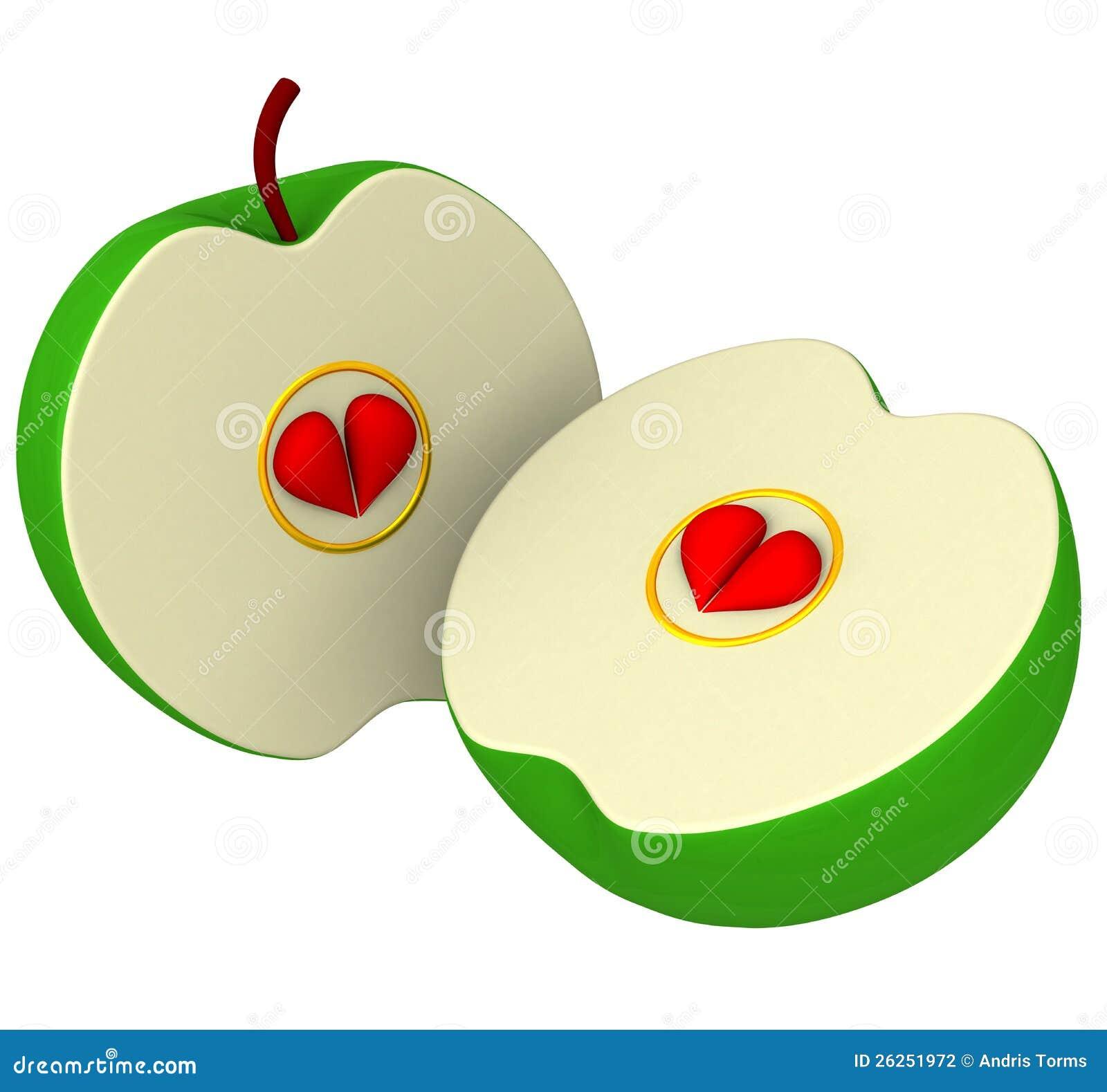 Δύο μισά μήλων με τους σπόρους ως καρδιές τρισδιάστατες