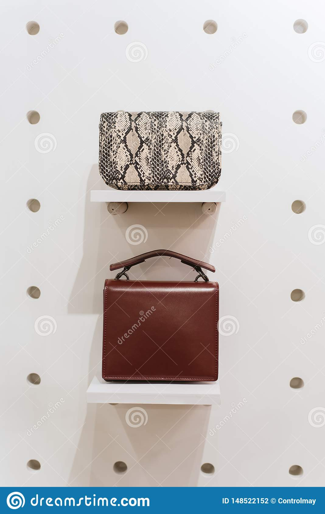 Δύο μοντέρνες τσάντες σε ένα άσπρο υπόβαθρο