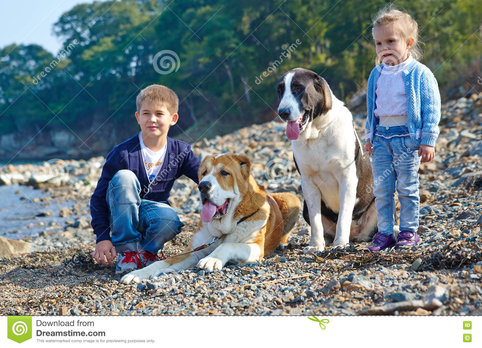 Δύο παιδιά, δύο μεγάλα σκυλιά