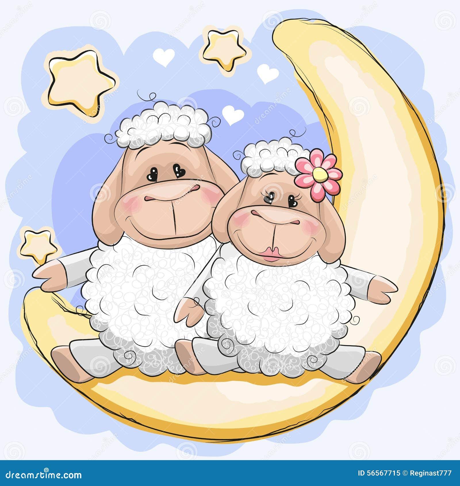 Download Δύο πρόβατα στο φεγγάρι διανυσματική απεικόνιση. εικονογραφία από καρδιά - 56567715