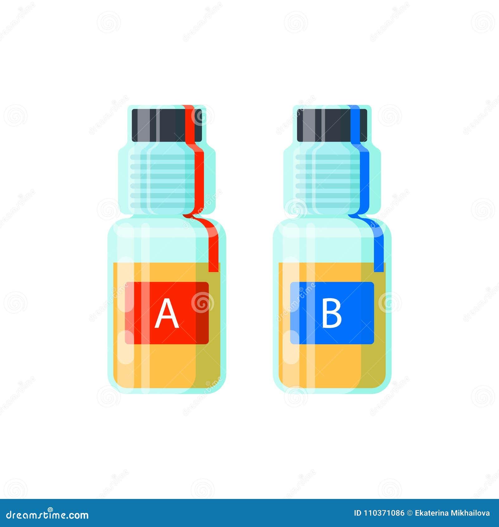 Δύο σωλήνες εξετάσεων ούρων για την ανάλυση της νάρκωσης - εξετάστε το Α και το Β, σφραγισμένες αποδείξεις για τον έλεγχο ελέγχου