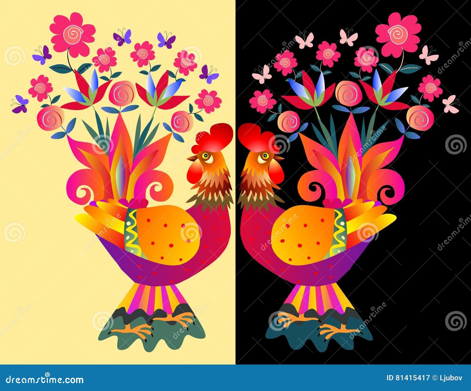 Δύο φωτεινά ζωηρόχρωμα cockerels - βάζα με τα λουλούδια