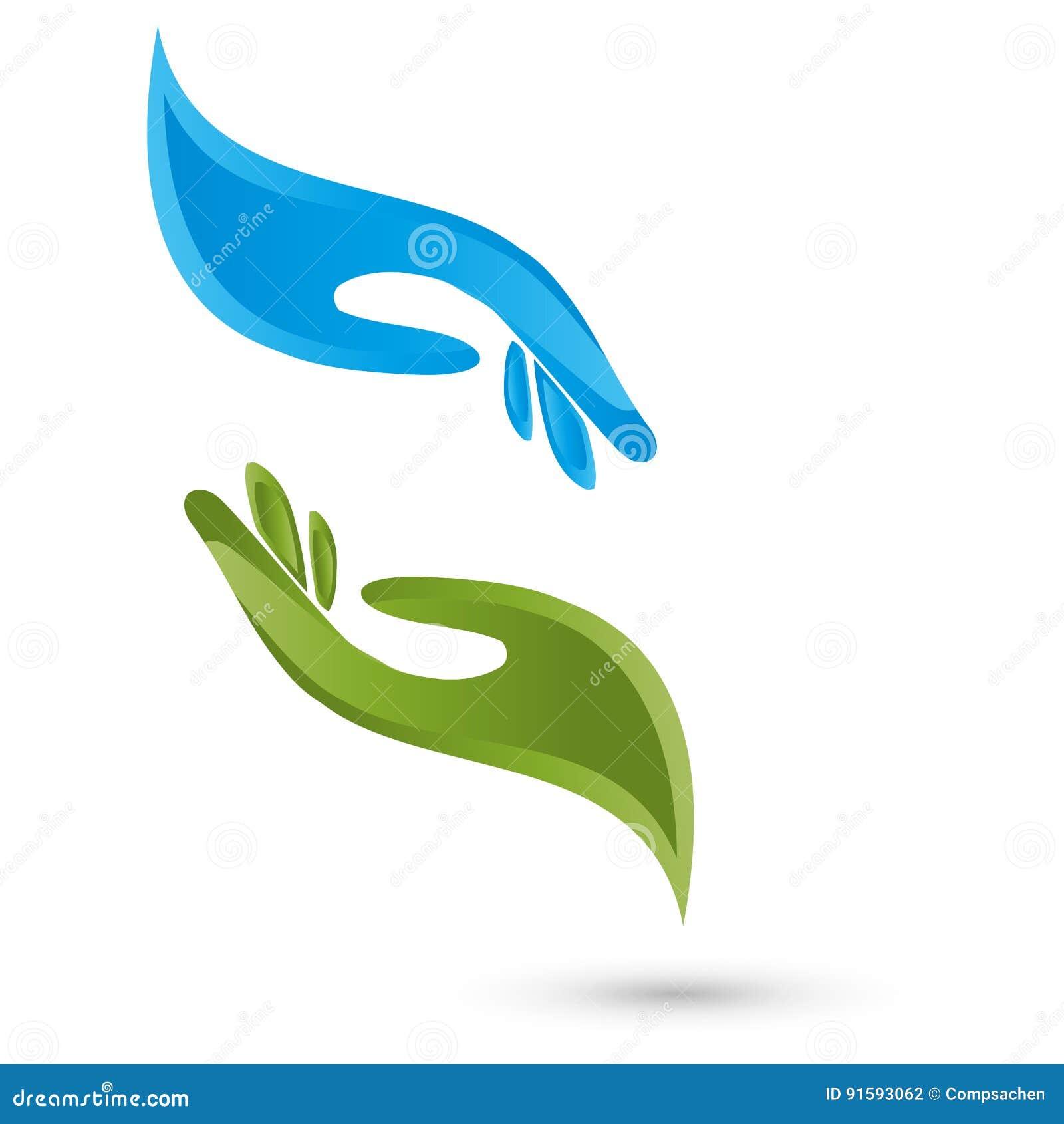 Δύο χέρια, λογότυπο φυσιοθεραπείας και μασάζ