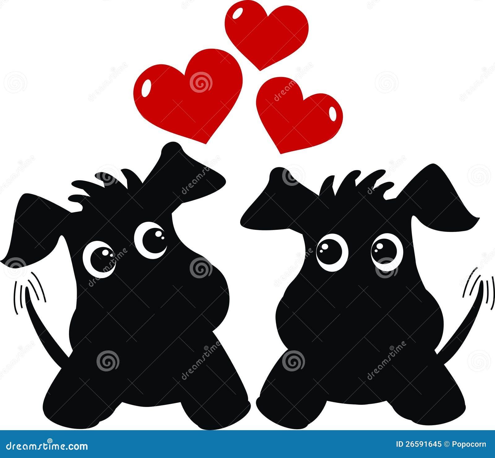 Δύο χαριτωμένα σκυλιά ερωτευμένα