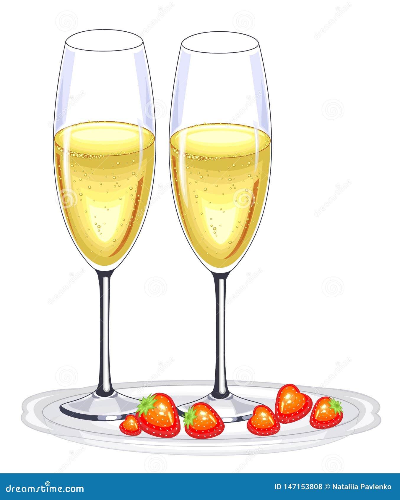Δύο όμορφα ποτήρια κρυστάλλου του κρασιού σαμπάνιας και των κόκκινων φραουλών Διακόσμηση του εορταστικού πίνακα για το νέο έτος,
