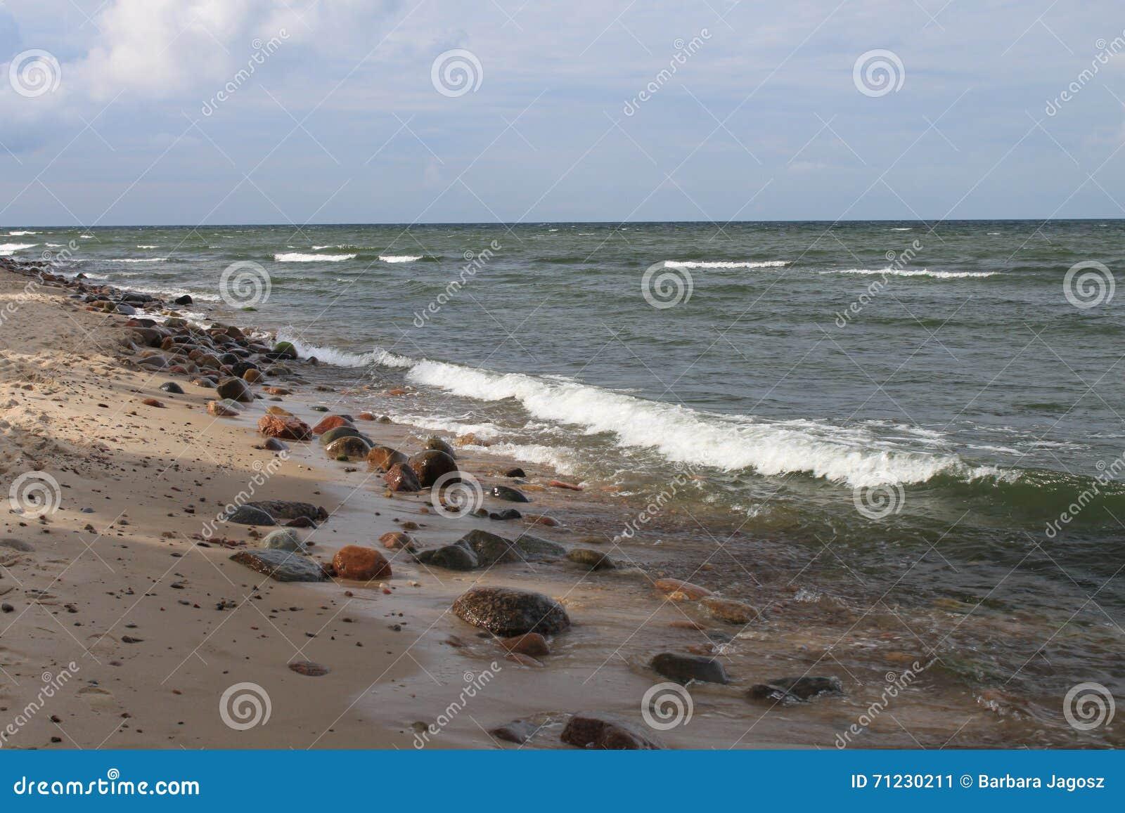 Δύσκολη παραλία της θάλασσας της Βαλτικής, Hel, Πολωνία