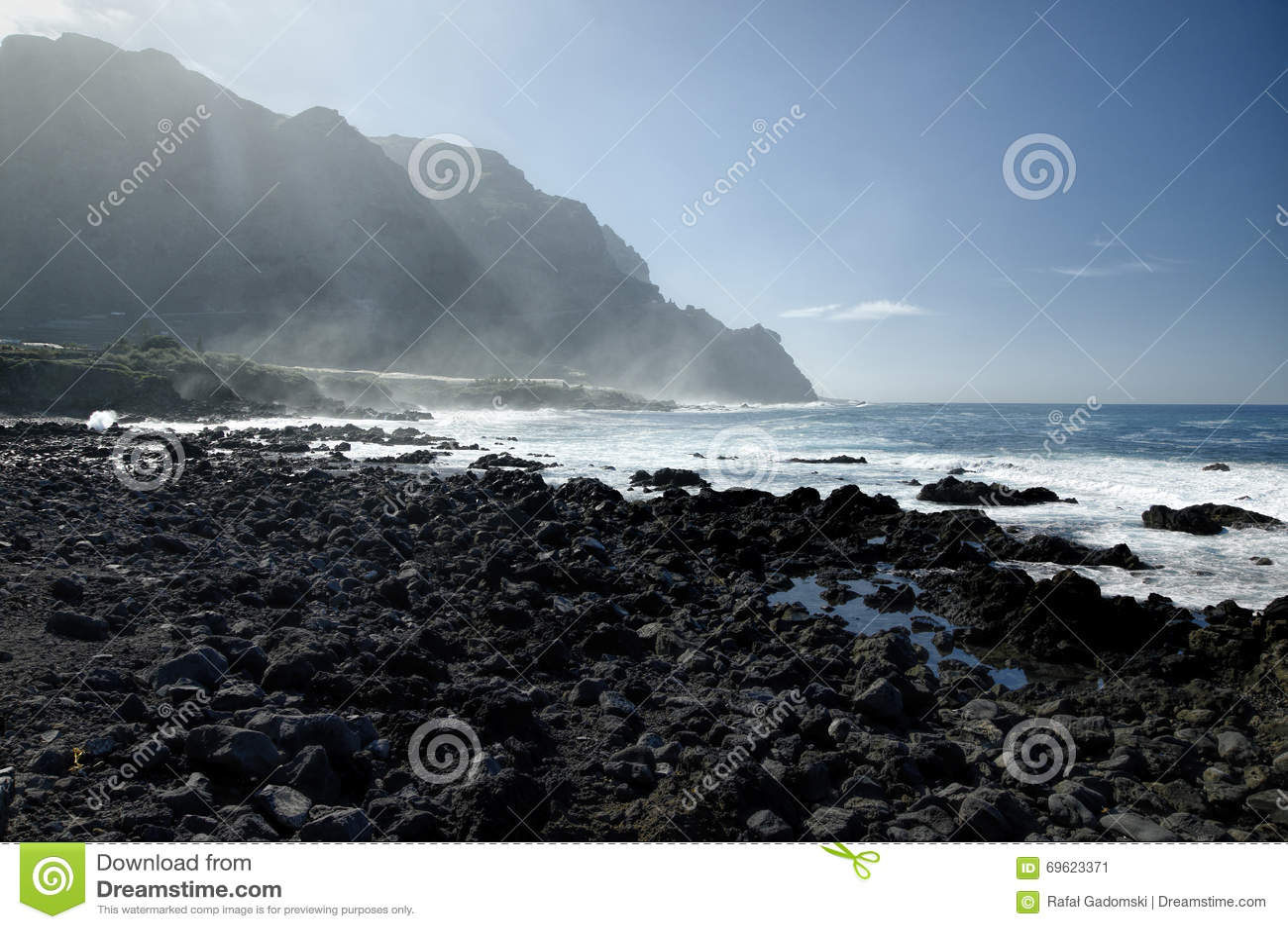 Δύσκολη παραλία Costadel Buenavista, Tenerife, καναρίνι, Ισπανία