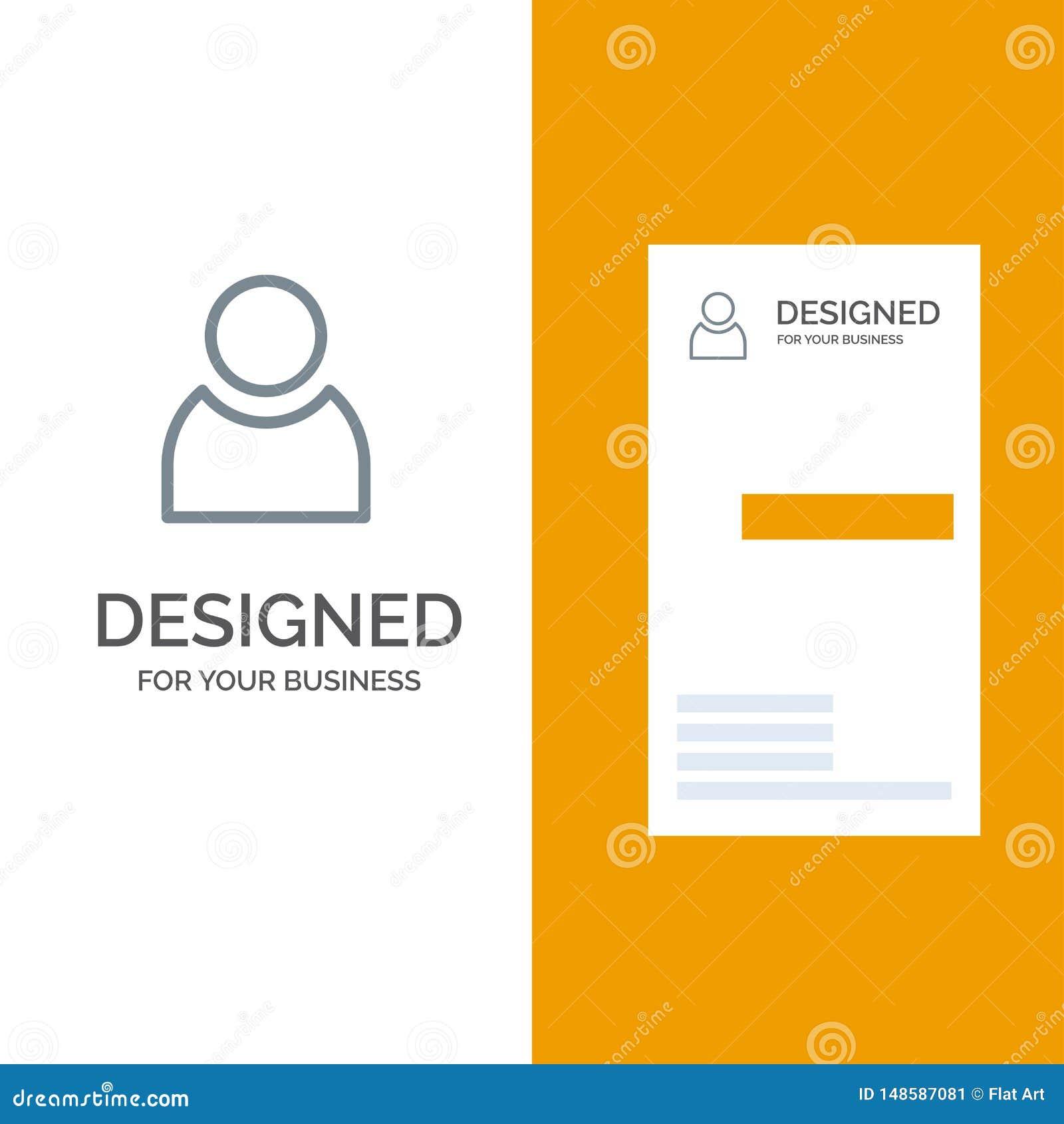 Είδωλο, χρήστης, βασικό γκρίζο σχέδιο λογότυπων και πρότυπο επαγγελματικών καρτών