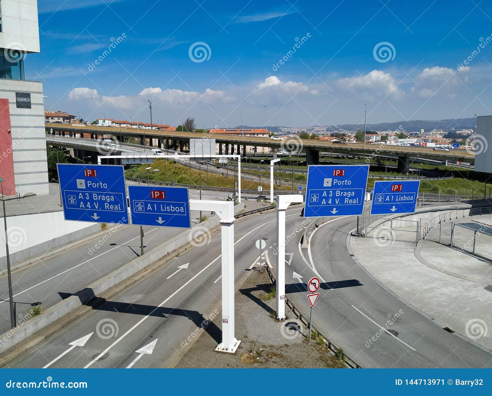 Είσοδος στον κύριο αυτοκινητόδρομο IP1 στην Πορτογαλία, η οποία συνδέει