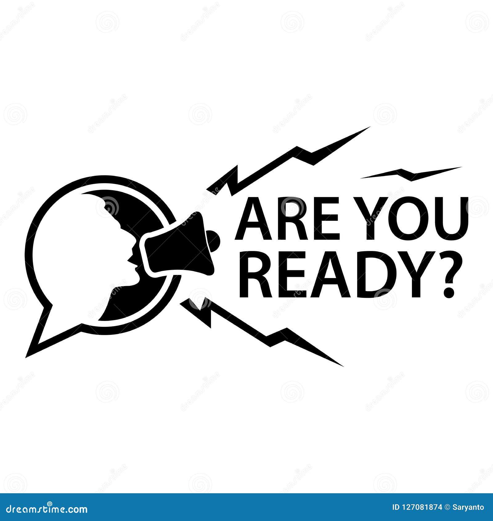 Είστε έτοιμοι με τους ανθρώπους και megaphone Επίπεδη διανυσματική απεικόνιση στο άσπρο υπόβαθρο