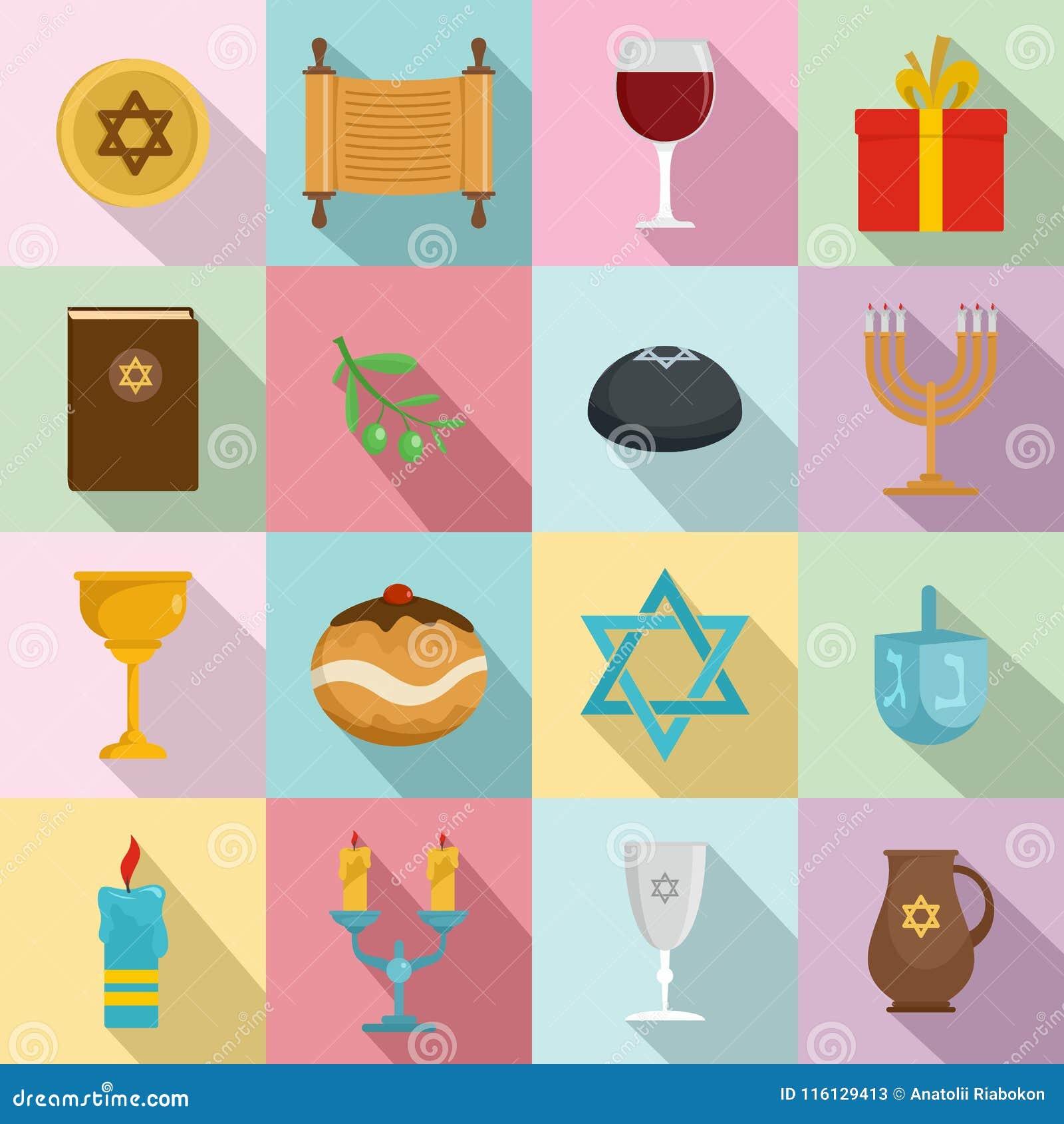 Εβραϊκά εικονίδια διακοπών Chanukah καθορισμένα, επίπεδο ύφος