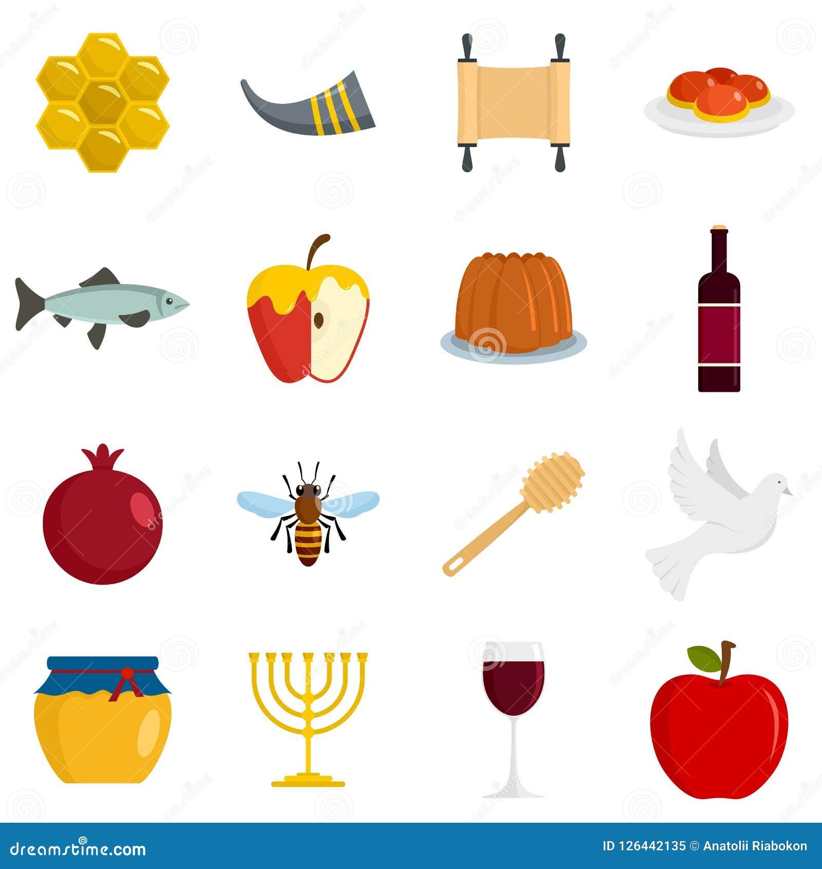 Εβραϊκά εικονίδια διακοπών Hashanah Rosh καθορισμένα, επίπεδο ύφος