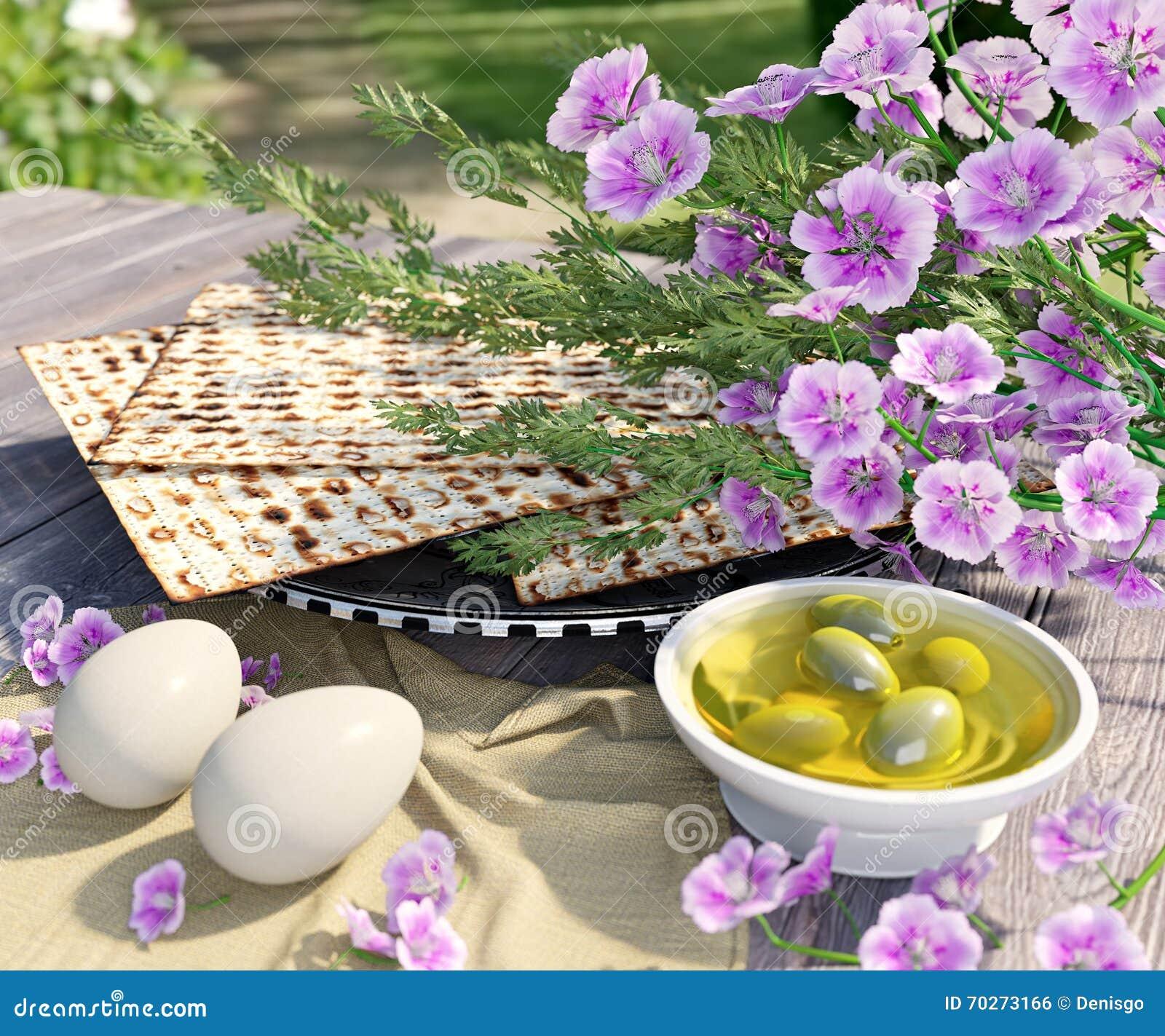 Εβραϊκός γιορτάστε pesach passover με τα αυγά, την ελιά, το matzo και τα λουλούδια