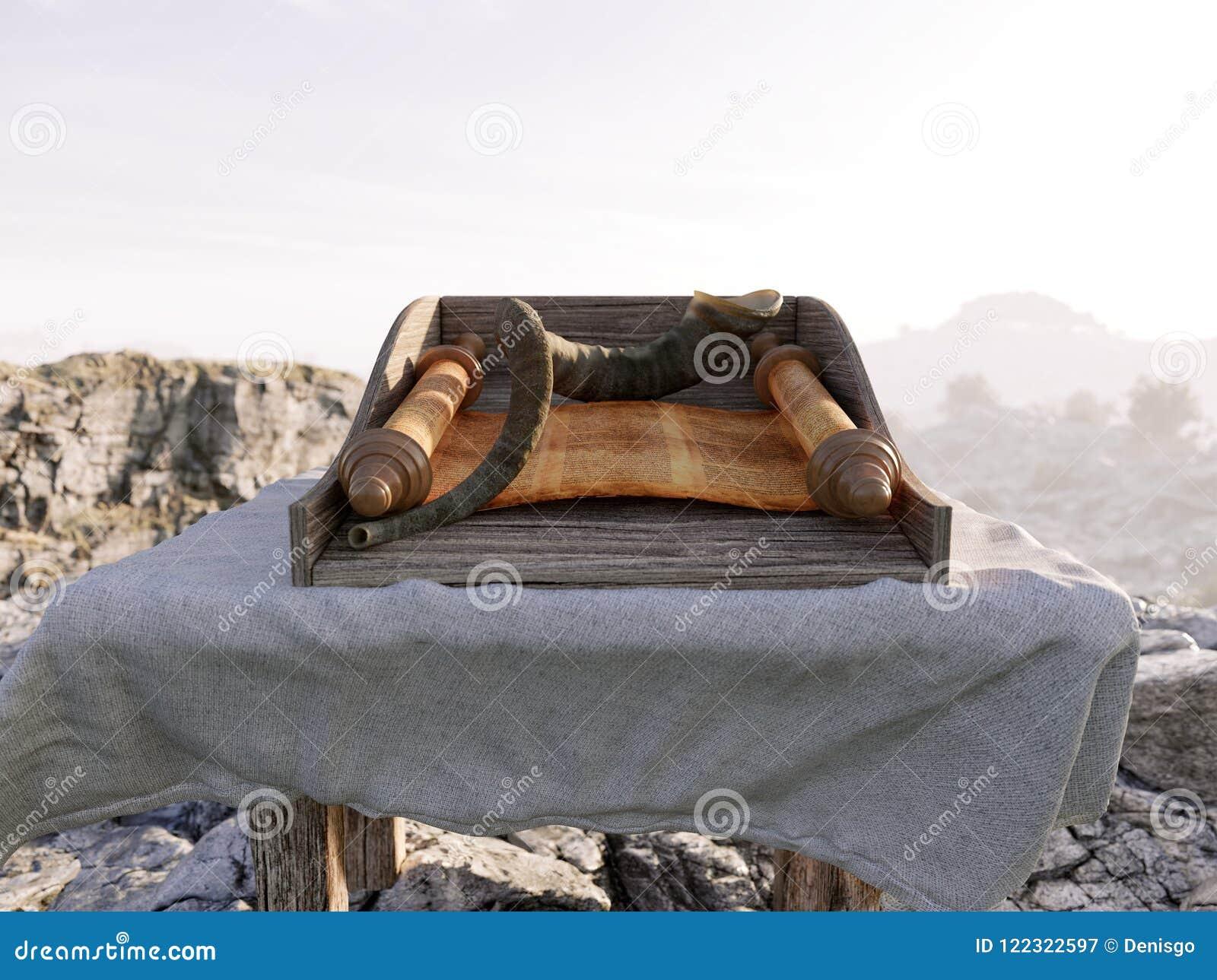 Εβραϊκό υπόβαθρο διακοπών με τον παλαιό κύλινδρο της φωτογραφίας έννοιας tora και τοπίων