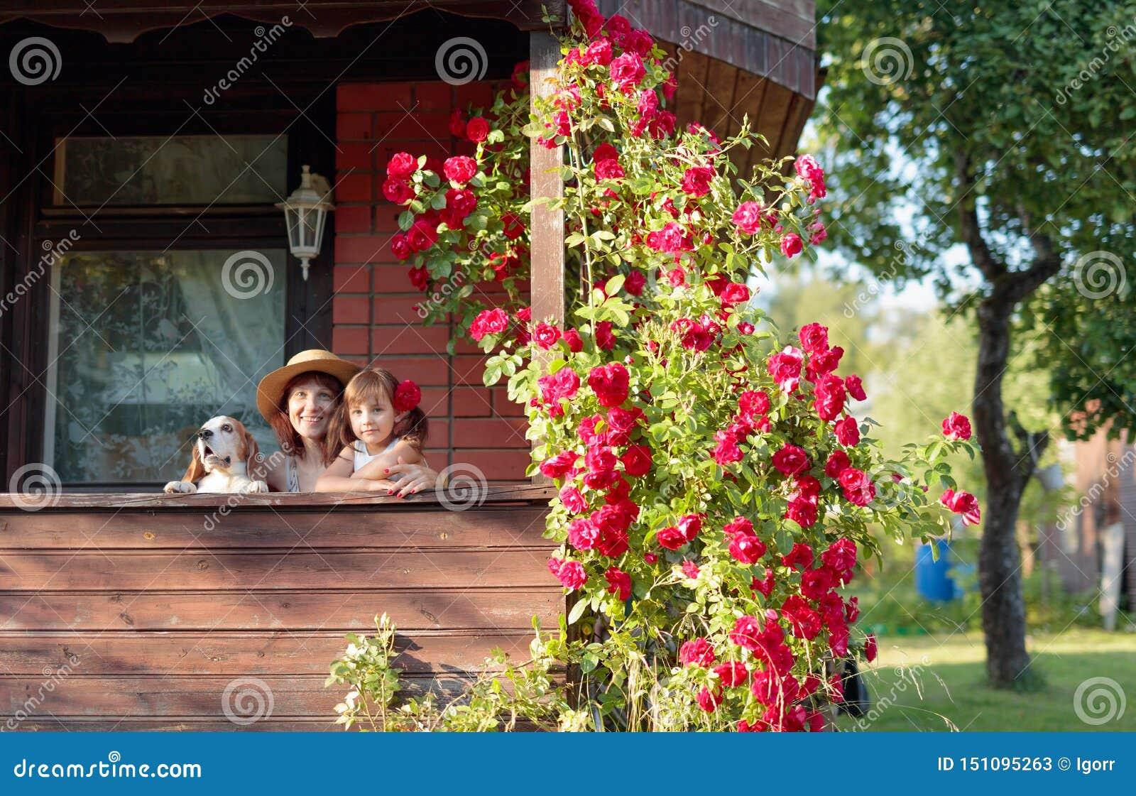 Εγγονή, γιαγιά και το σκυλί τους στη βεράντα του του χωριού σπιτιού
