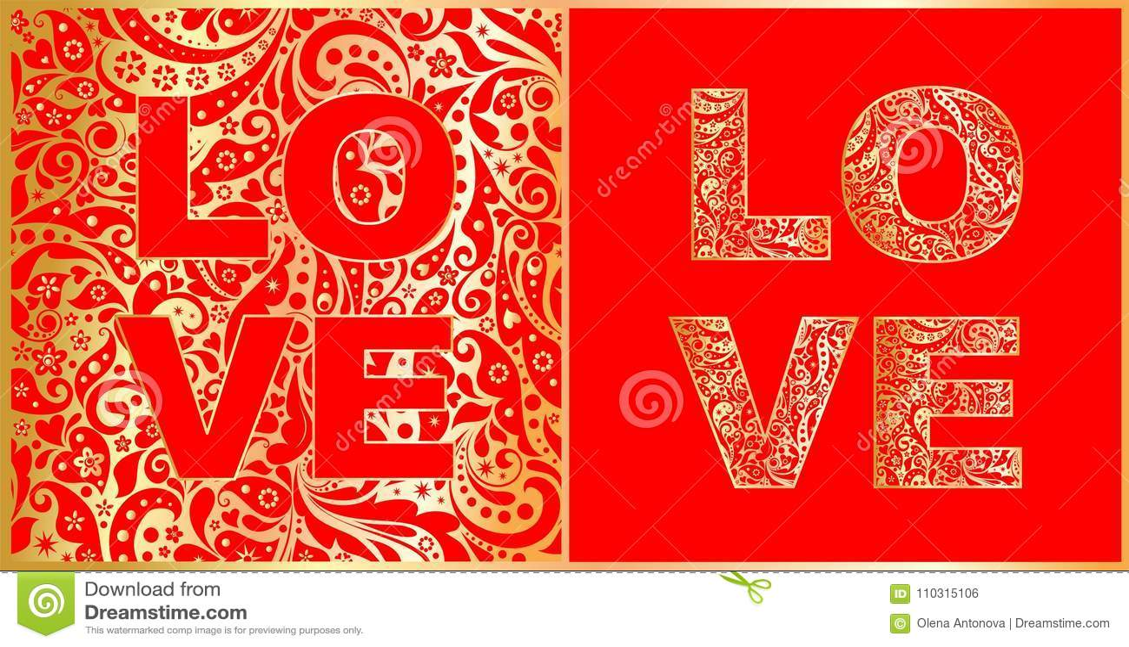 Εγγραφή αγάπης με το αφηρημένο floral κόκκινο και χρυσό σχέδιο παραλλαγή