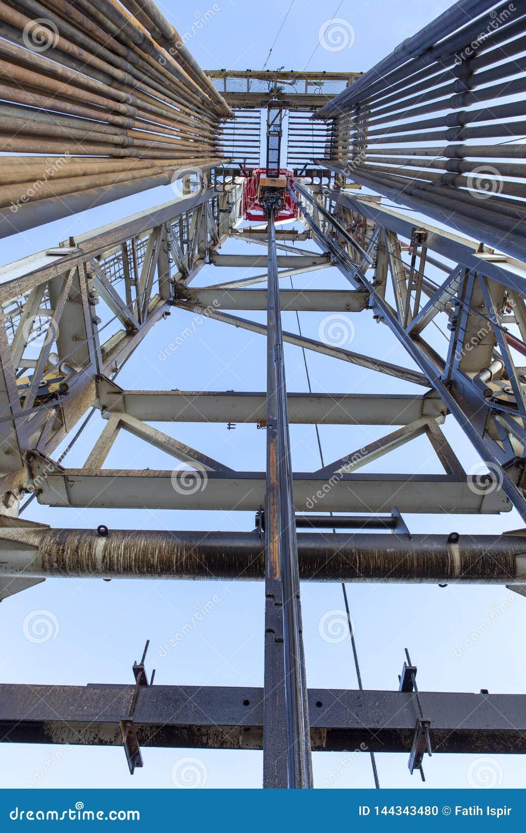 Εγκατάσταση γεώτρησης γεώτρησης πετρελαίου μέσα στην άποψη
