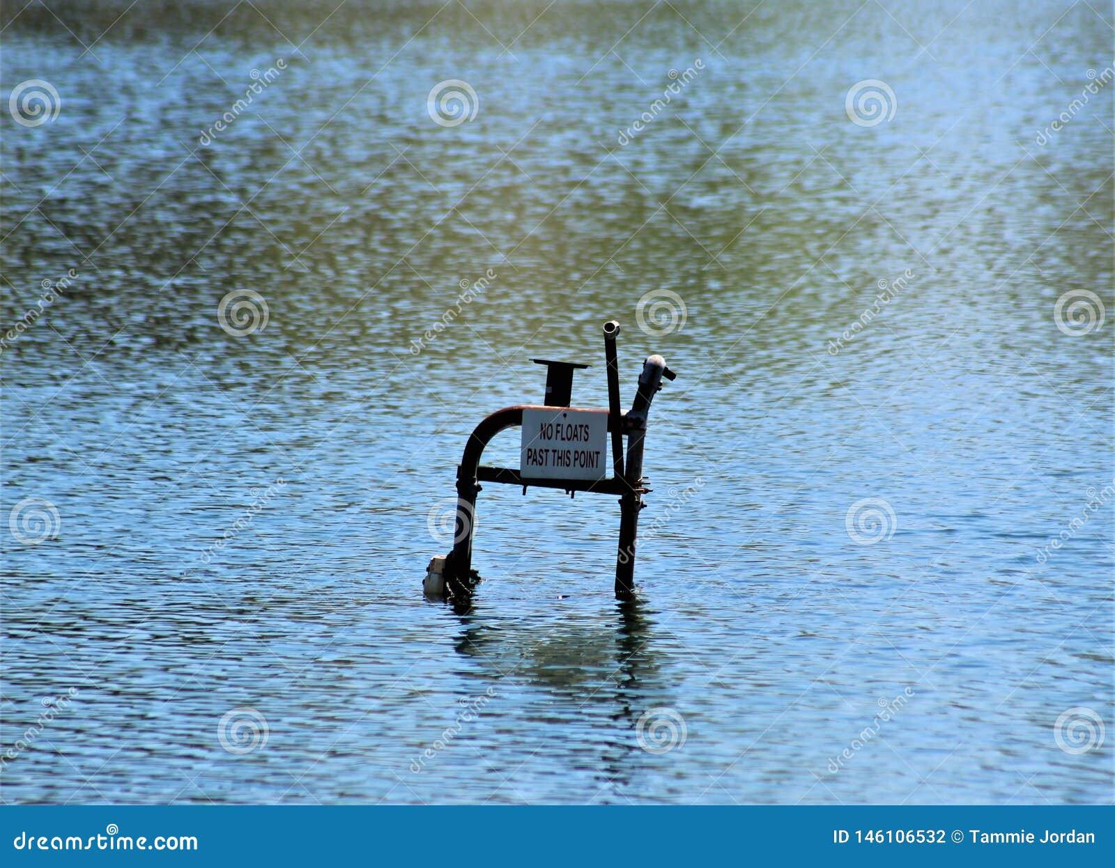 Εγκαταλειμμένη έδρα Lifeguard που βυθίζει στη λίμνη