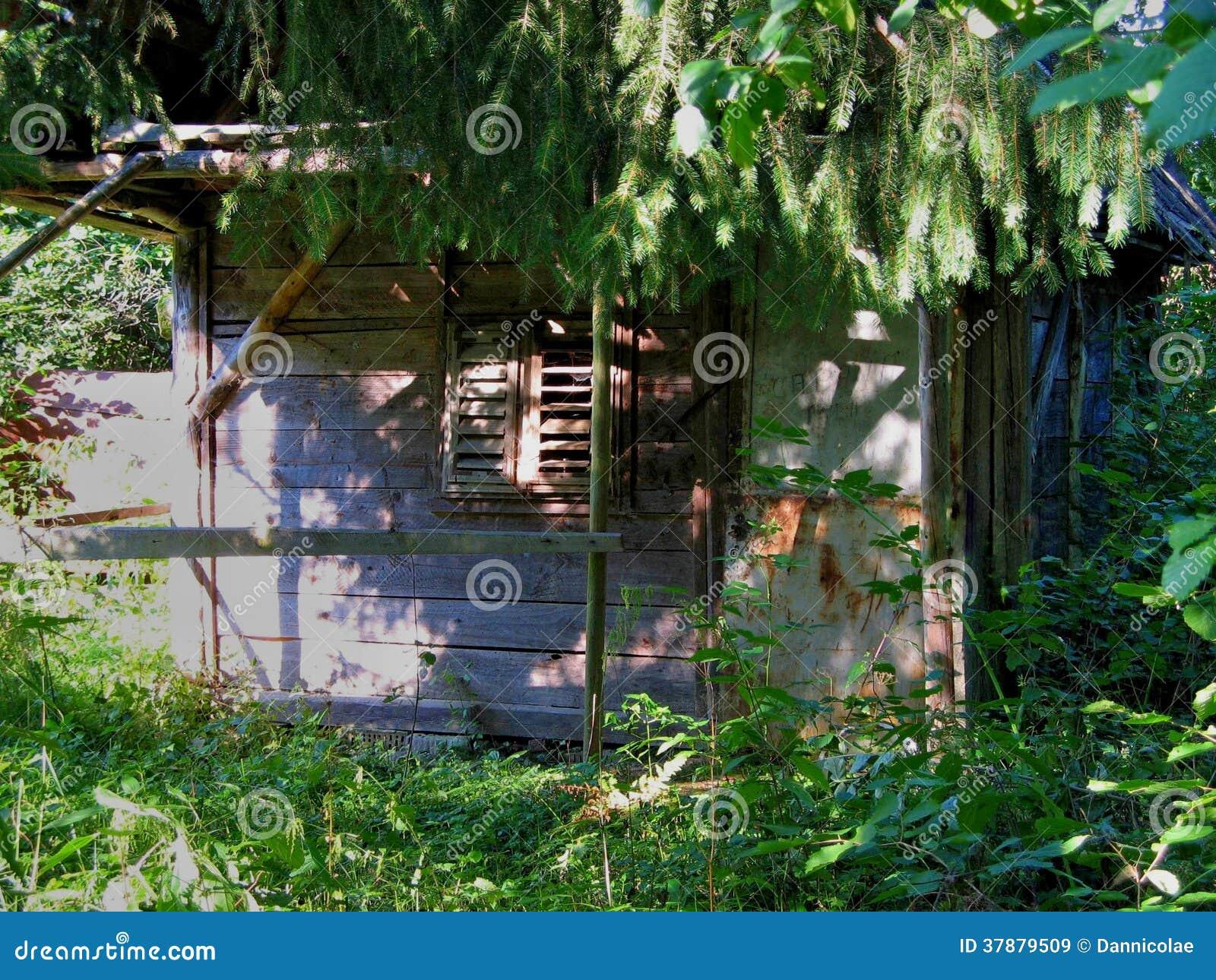 Εγκαταλειμμένη μικρή παλαιά ξύλινη καλύβα