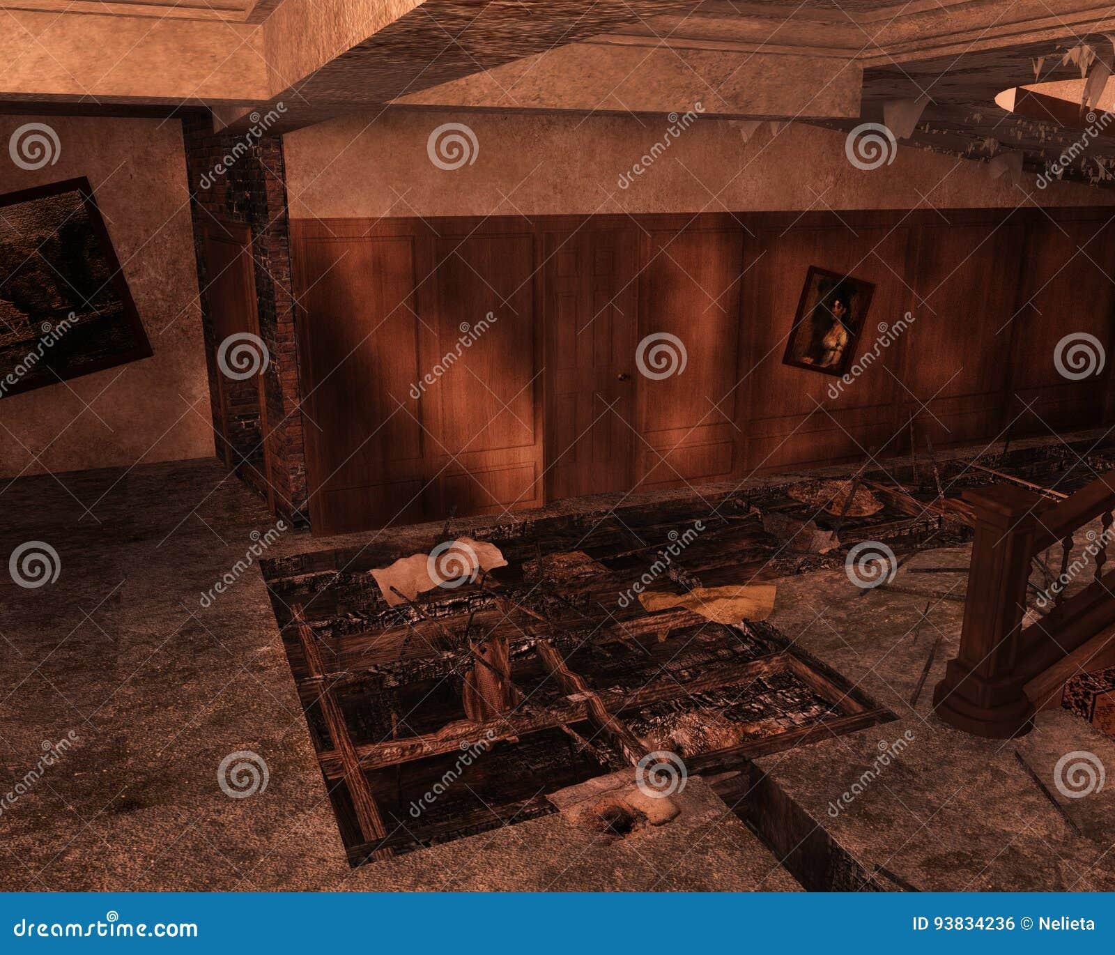 Εγκαταλειμμένο εσωτερικό, τρισδιάστατο CG