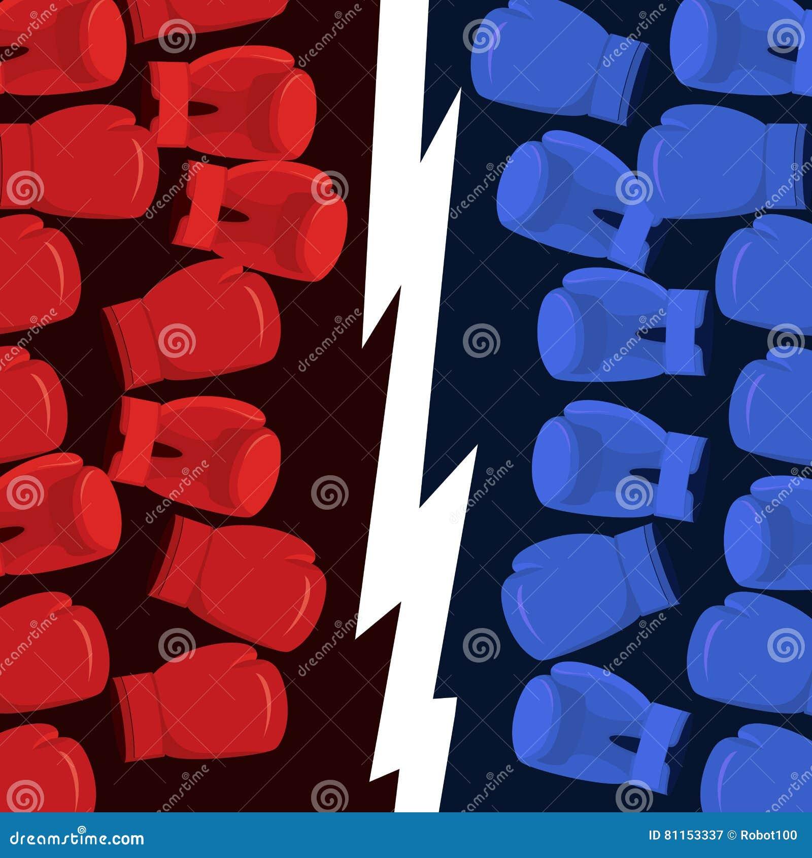 Εγκιβωτίζοντας ομάδα μάχης Μπλε εναντίον των κοκκίνων Χτυπημένο γάντια χτύπημα Αφίσα για