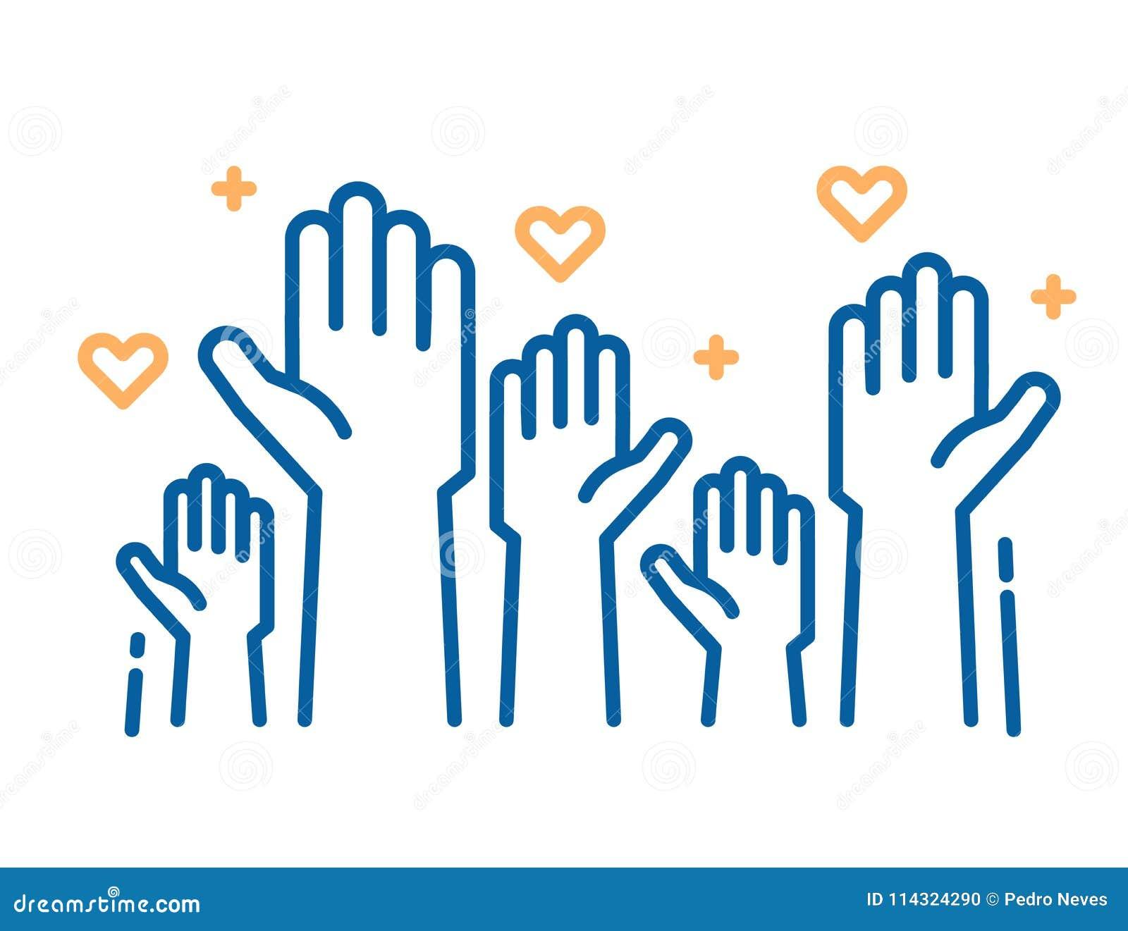 Εθελοντές και εργασία φιλανθρωπίας Αυξημένα χέρια βοηθείας Διανυσματικές λεπτές απεικονίσεις εικονιδίων γραμμών με ένα πλήθος των