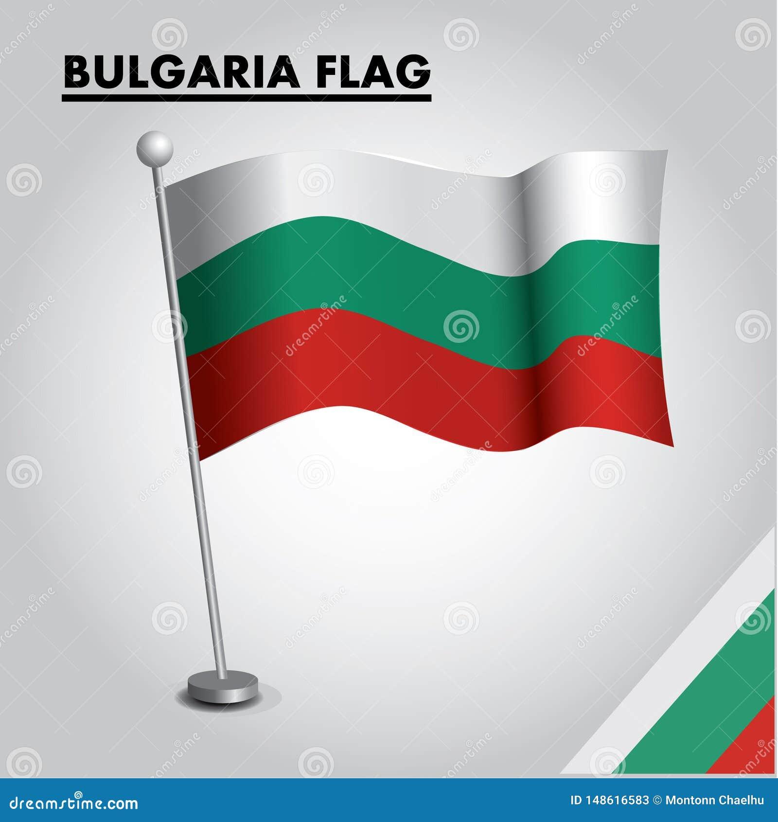 Εθνική σημαία σημαιών της ΒΟΥΛΓΑΡΙΑΣ της ΒΟΥΛΓΑΡΙΑΣ σε έναν πόλο
