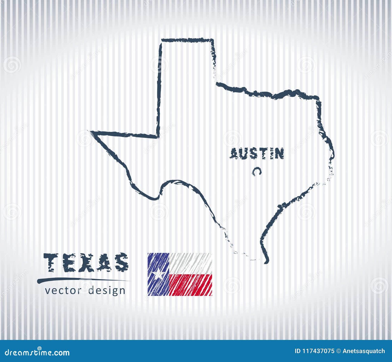Εθνικός διανυσματικός χάρτης σχεδίων του Τέξας στο άσπρο υπόβαθρο