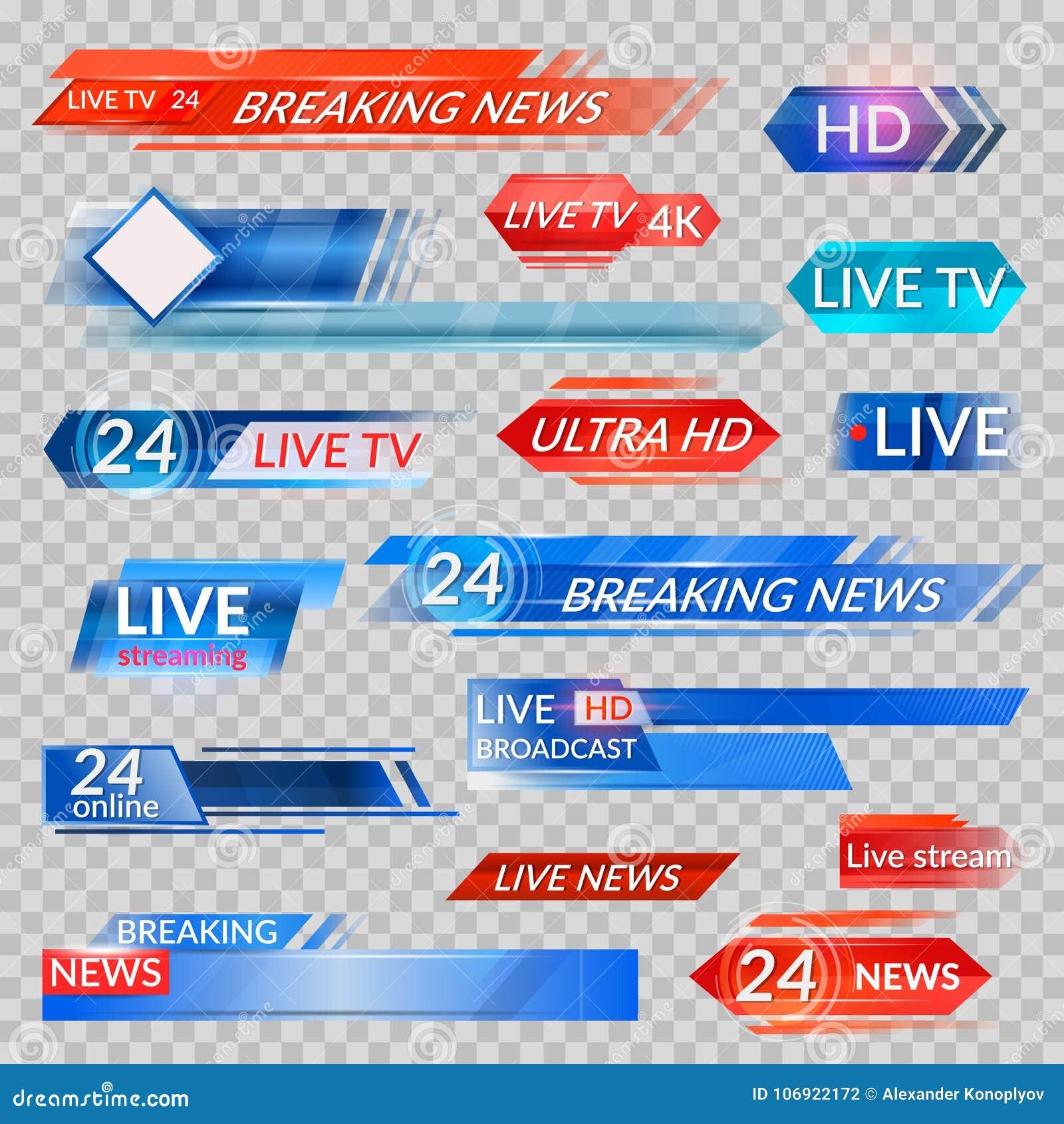Ειδήσεις TV και ρέοντας τηλεοπτικά εμβλήματα
