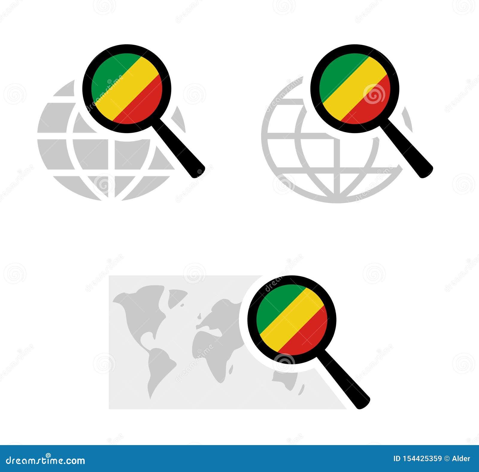 Εικονίδια αναζήτησης με την κογκολέζικη σημαία