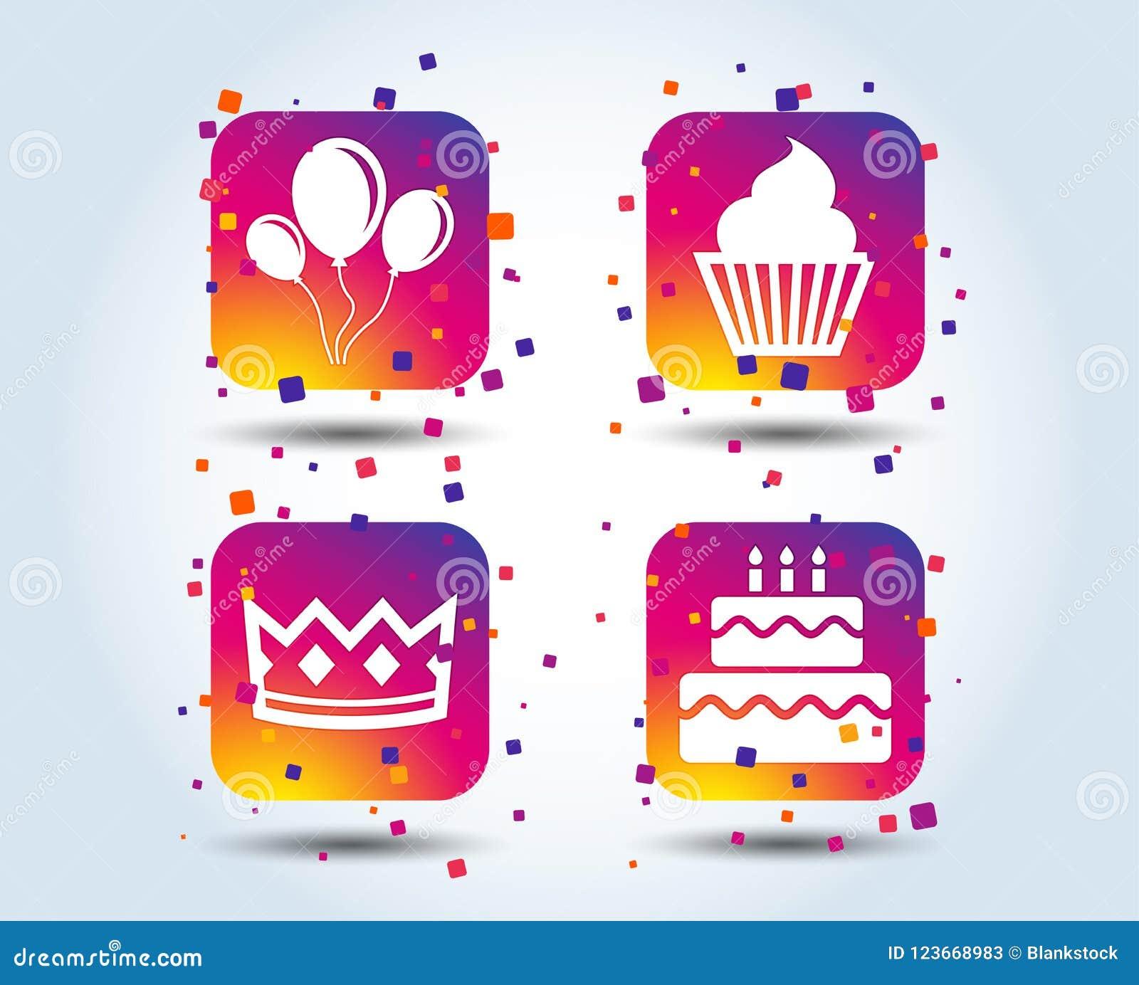 Εικονίδια γιορτής γενεθλίων Κέικ και cupcake σύμβολο