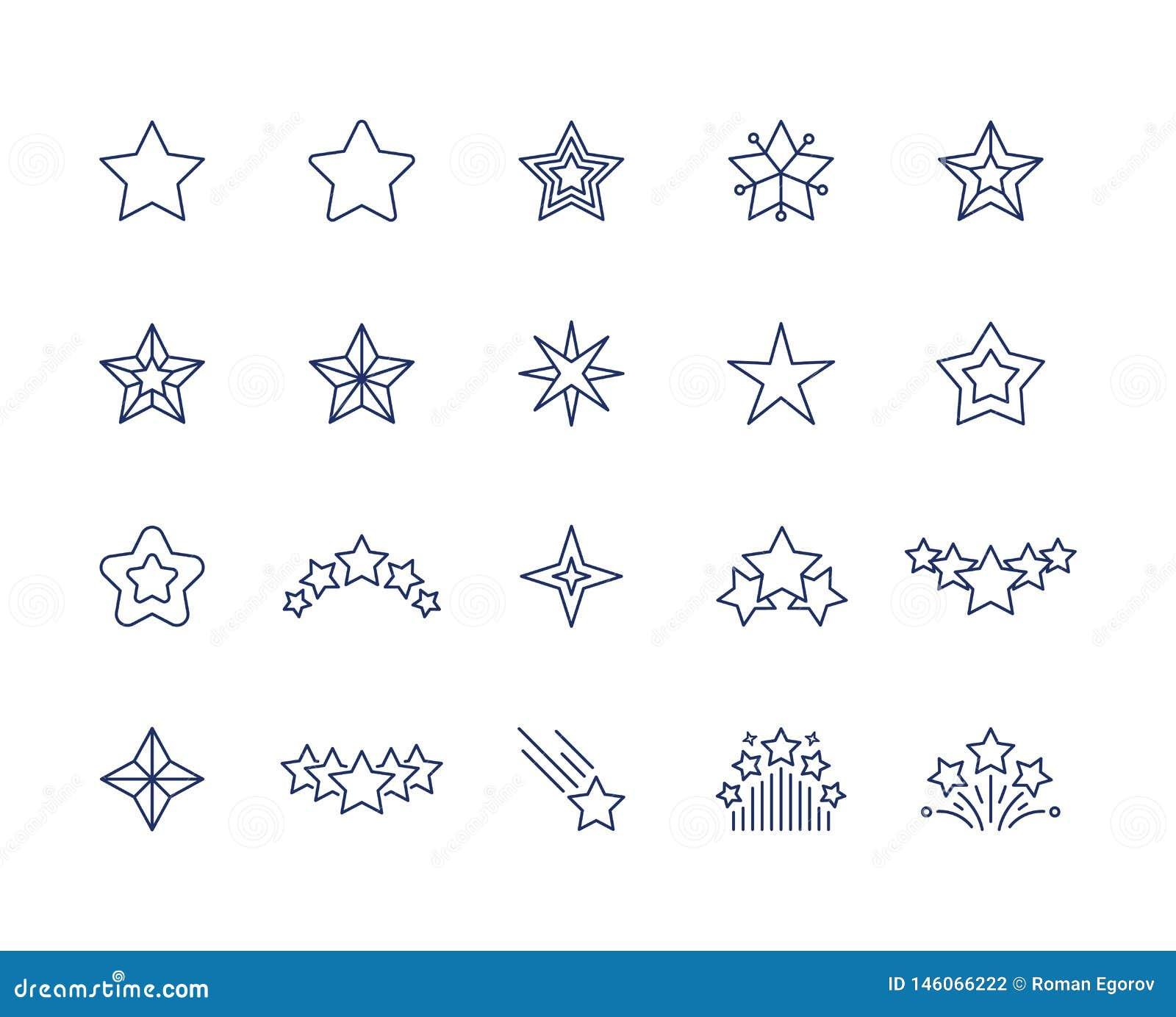 Εικονίδια γραμμών αστεριών Σύμβολα σπινθηρίσματος ασφαλίστρου καθορισμένα, μειωμένη συμπάθεια αστεριών πυροβολισμού ή όπως το εικ