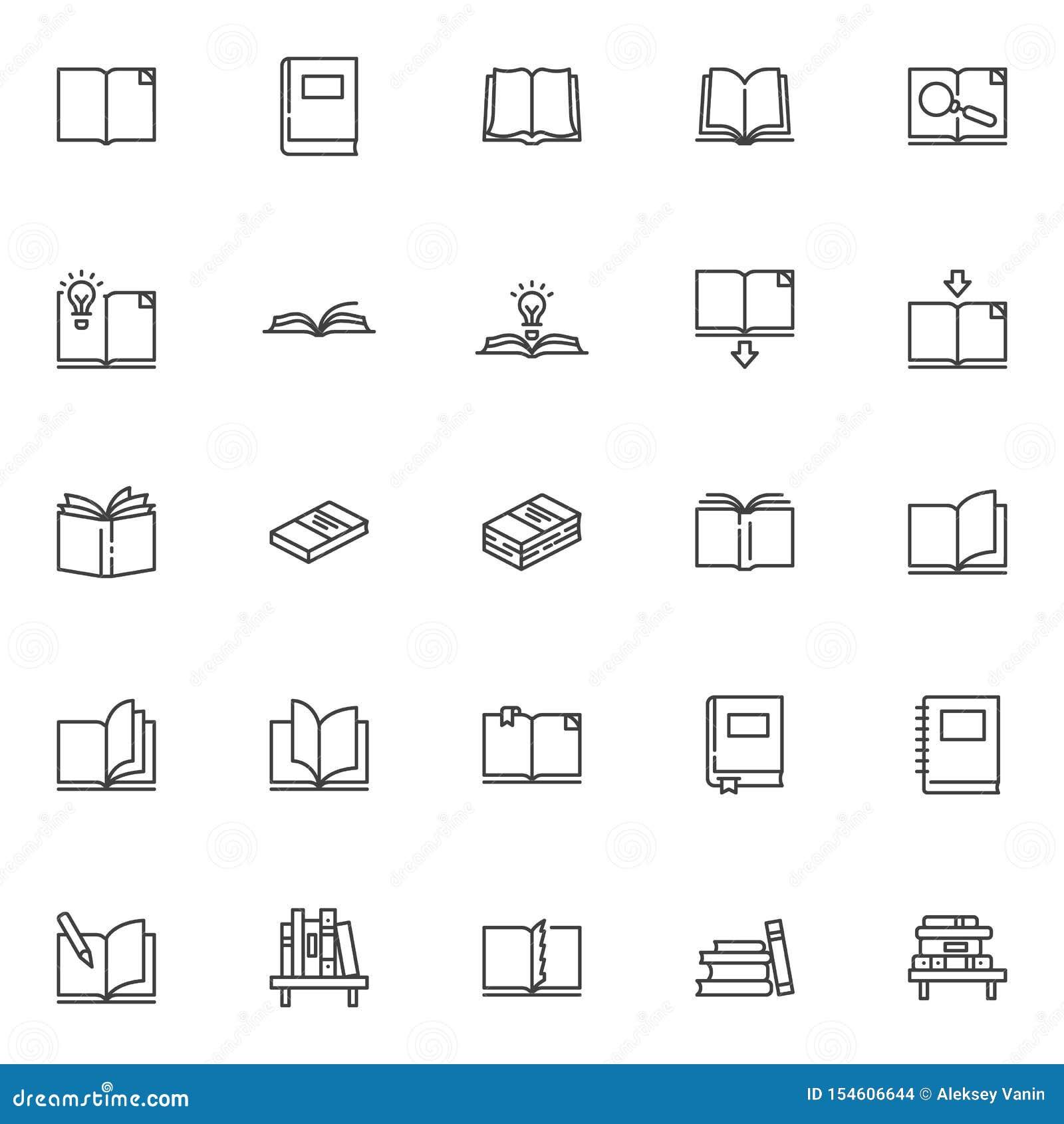 Εικονίδια γραμμών βιβλίων καθορισμένα