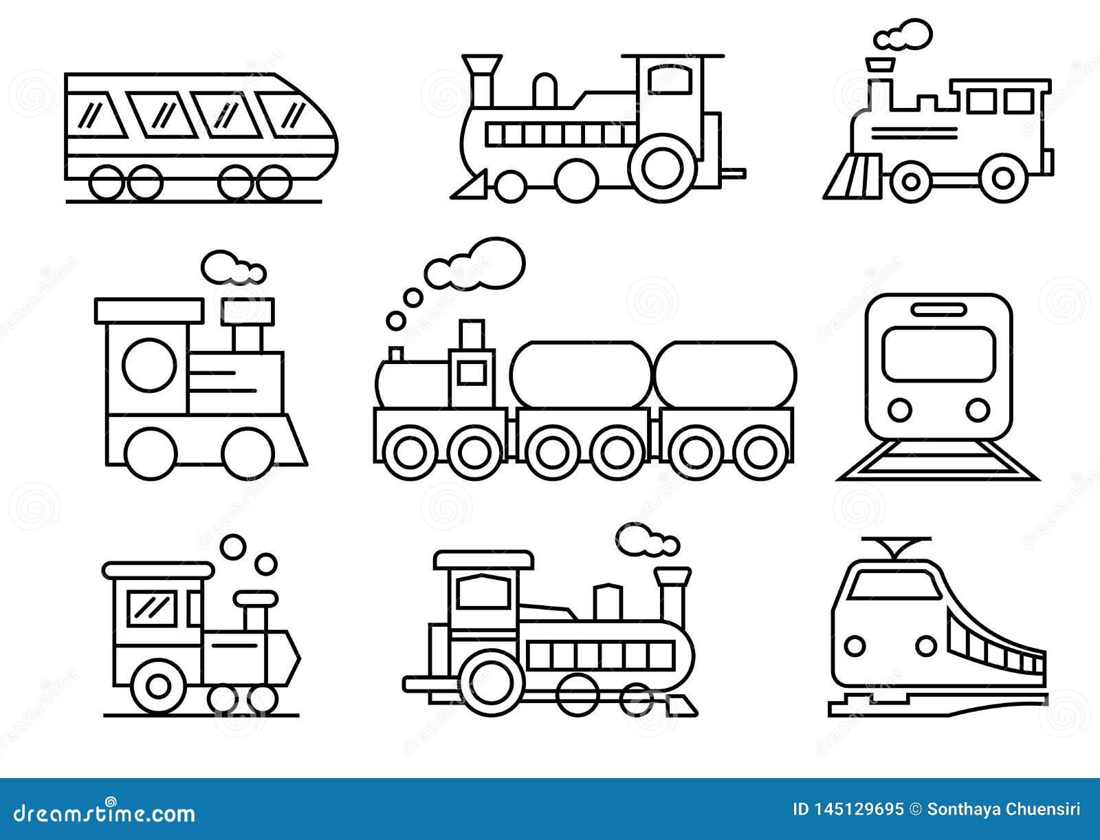 Εικονίδια γραμμών καθορισμένα, μεταφορά, τραίνο, διανυσματικές απεικο