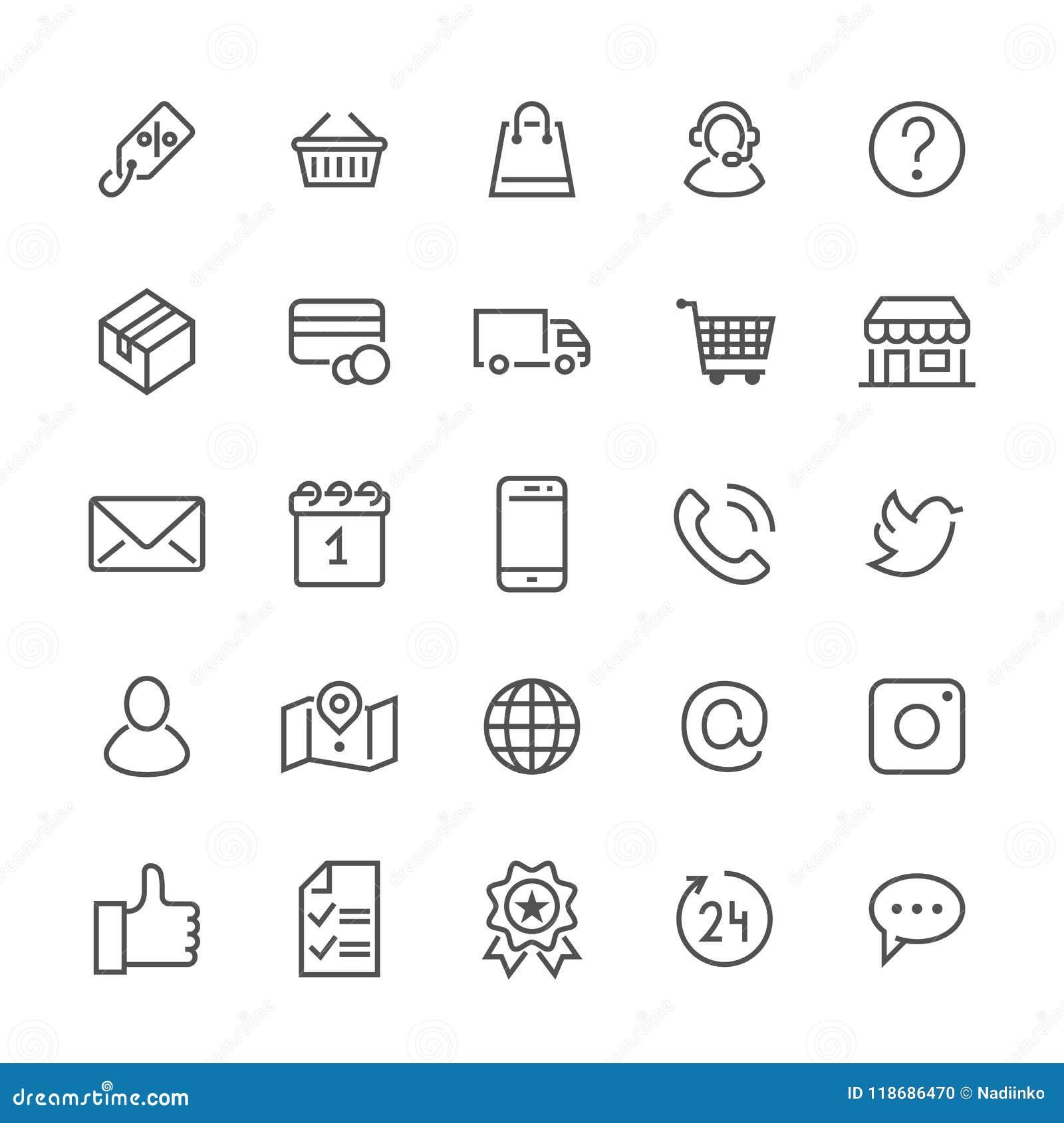a074a78052d8 Εικονίδια γραμμών on-line αγορών επίπεδα Επιχείρηση ηλεκτρονικού εμπορίου