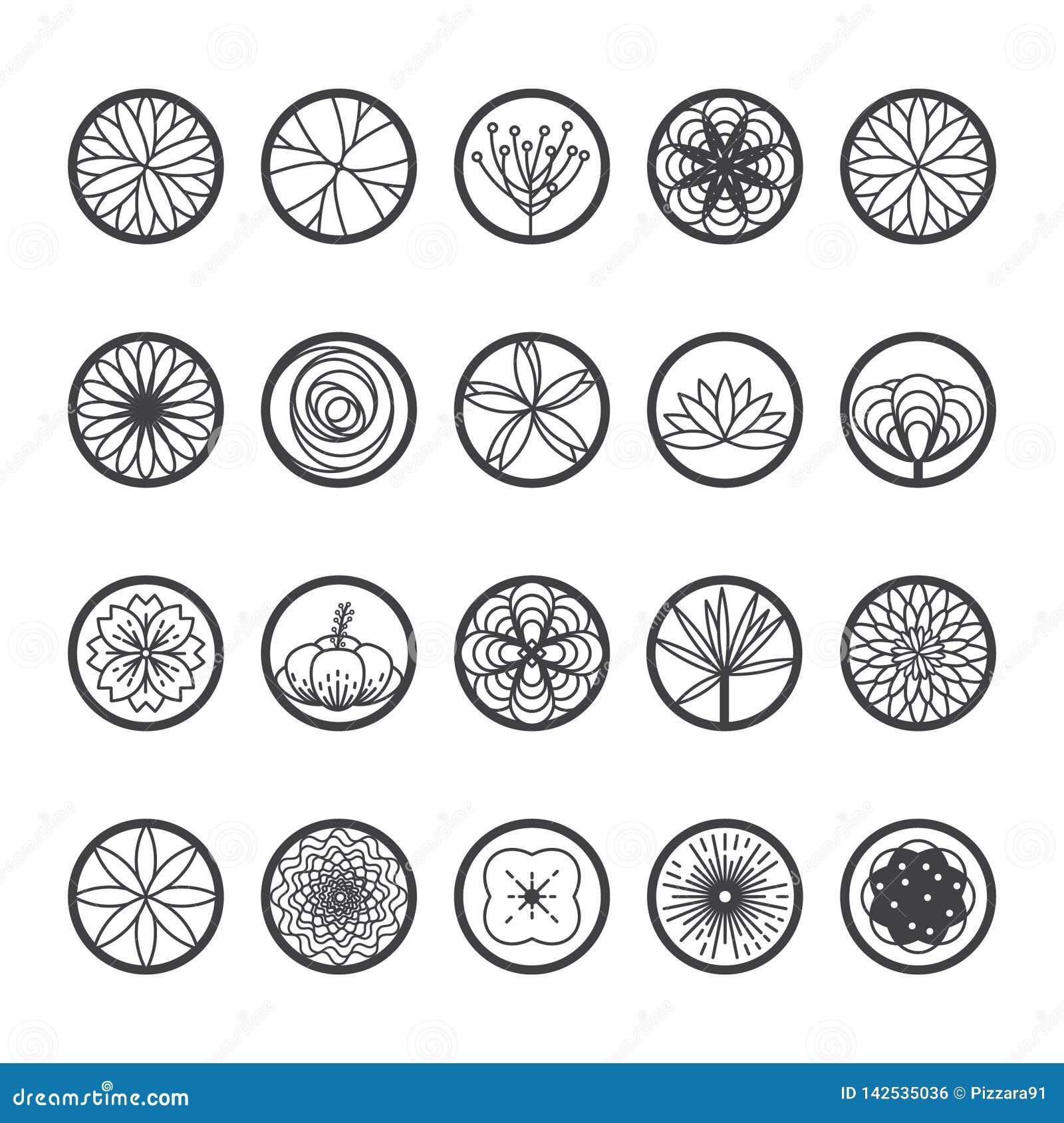 Εικονίδια λουλουδιών σε μια στρογγυλή μορφή Ενιαίο ύφος-διάνυσμα γραμμών
