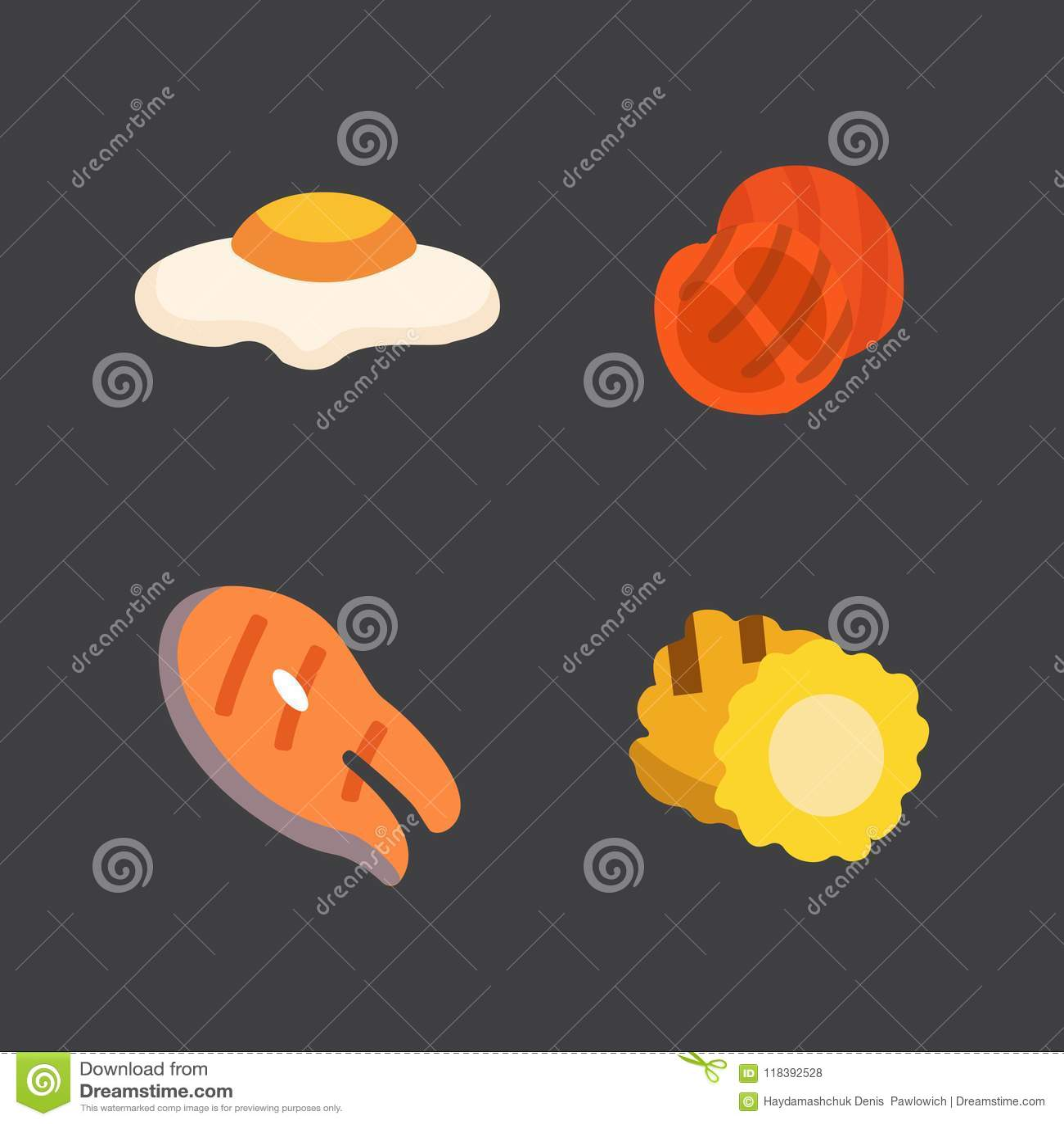 Εικονίδια σχαρών καθορισμένα Τρόφιμα σχαρών, bbq, ψητό, διανυσματική απεικόνιση κινούμενων σχεδίων μπριζόλας