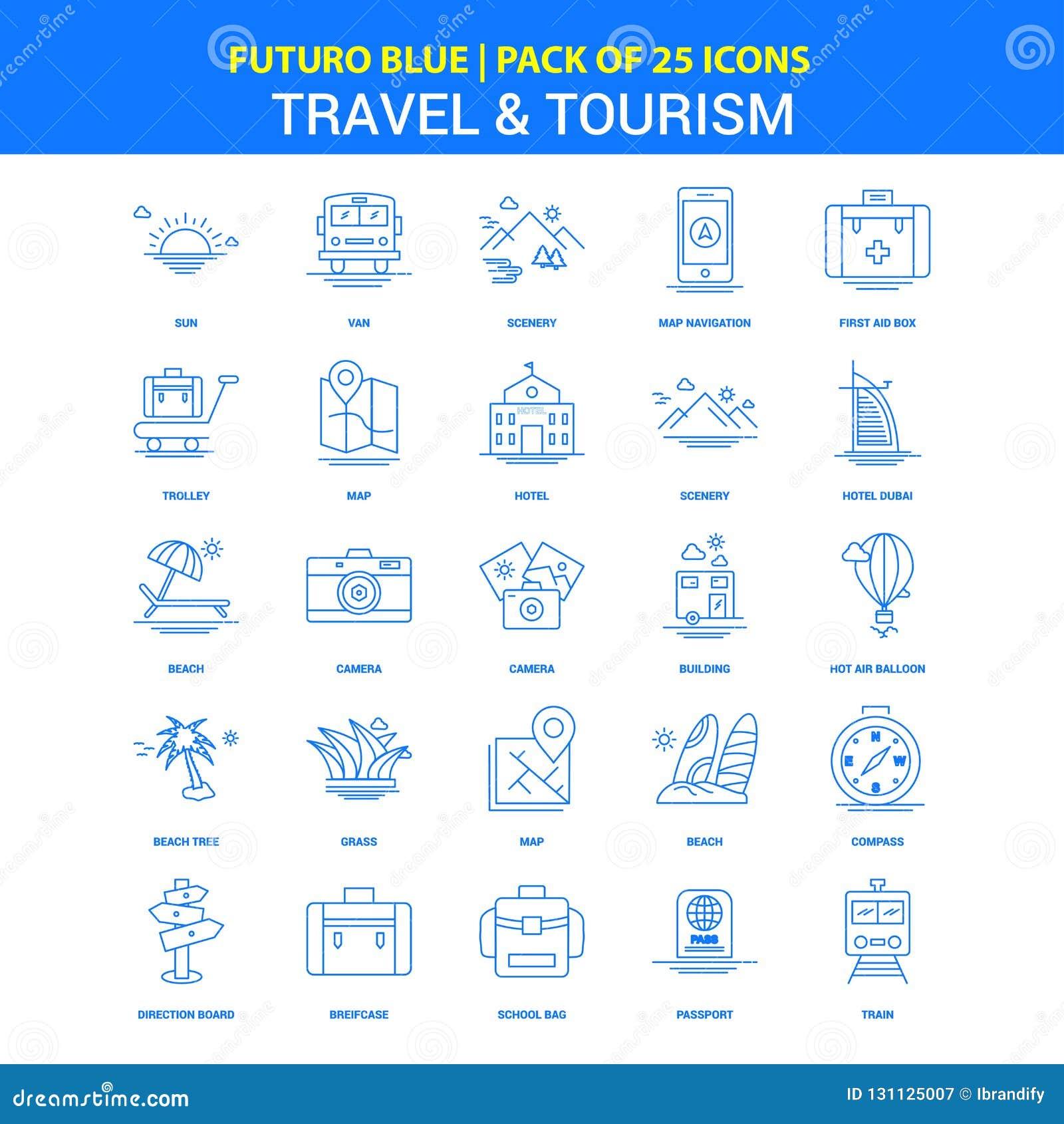 Εικονίδια ταξιδιού και τουρισμού - μπλε πακέτο 25 εικονιδίων Futuro
