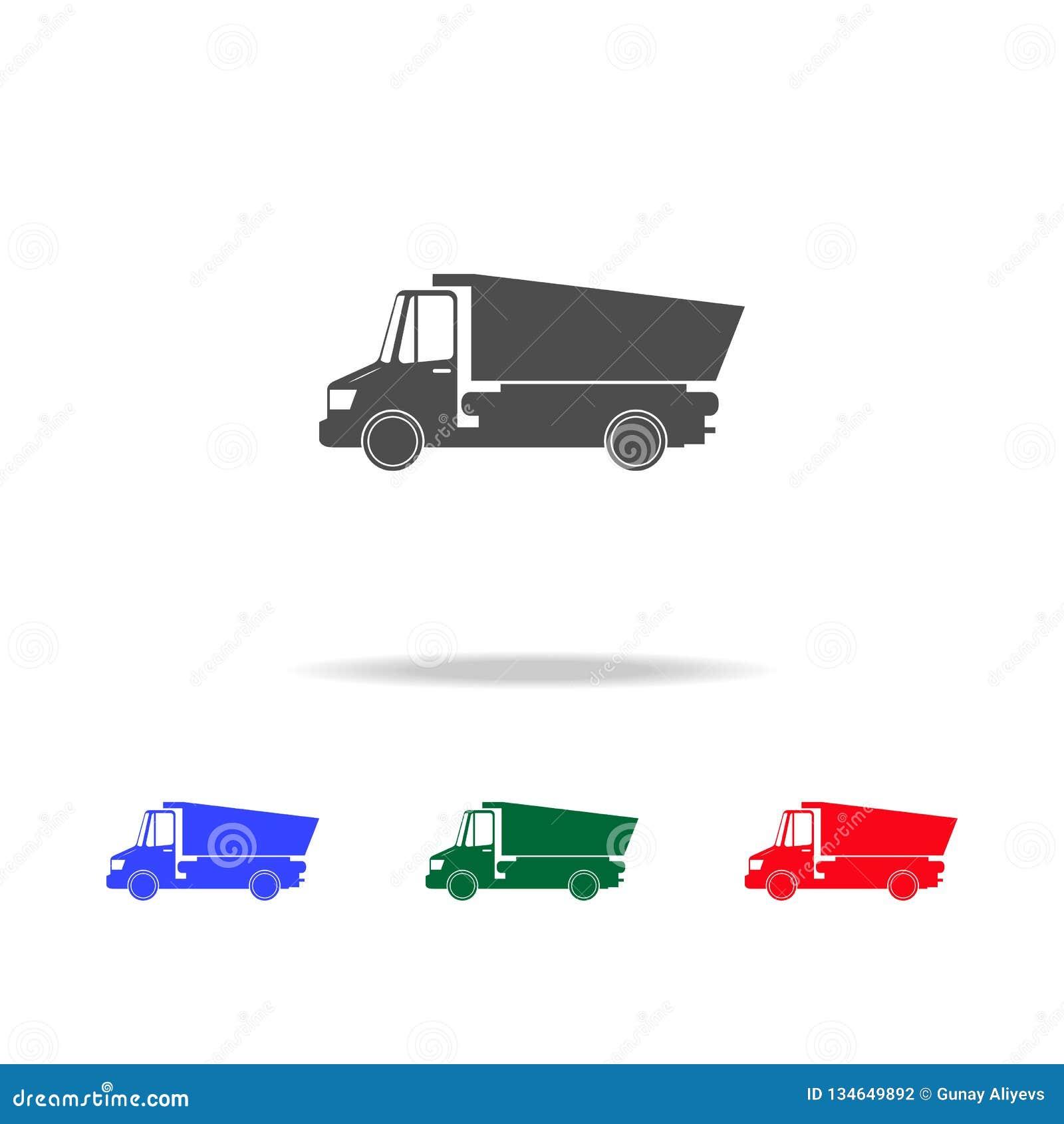 Εικονίδια φορτηγών απορρίψεων Στοιχεία του στοιχείου μεταφορών στα πολυ χρωματισμένα εικονίδια Γραφικό εικονίδιο σχεδίου εξαιρετι
