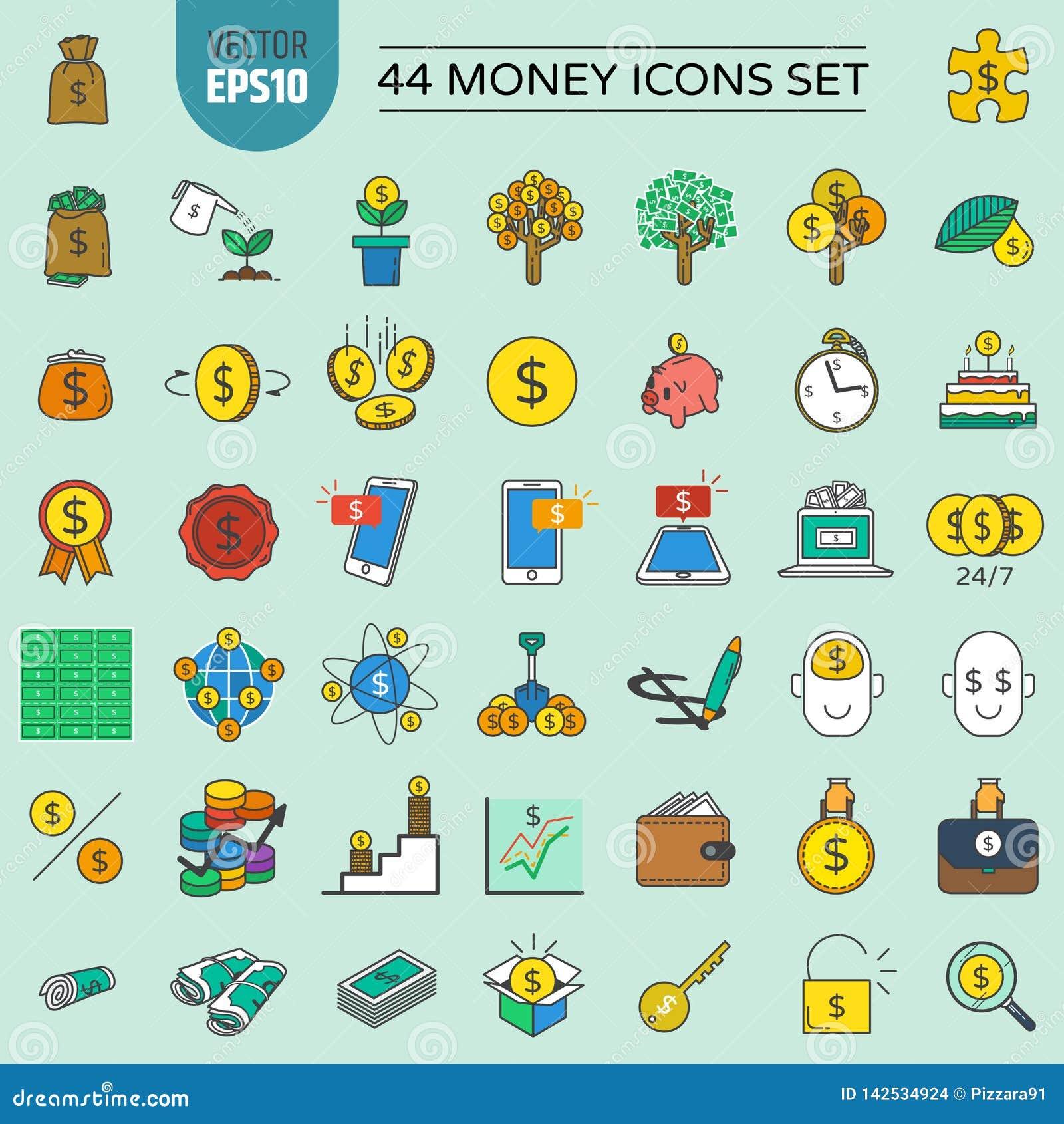 44 εικονίδια χρημάτων καθορισμένα και οικονομικά και επένδυση