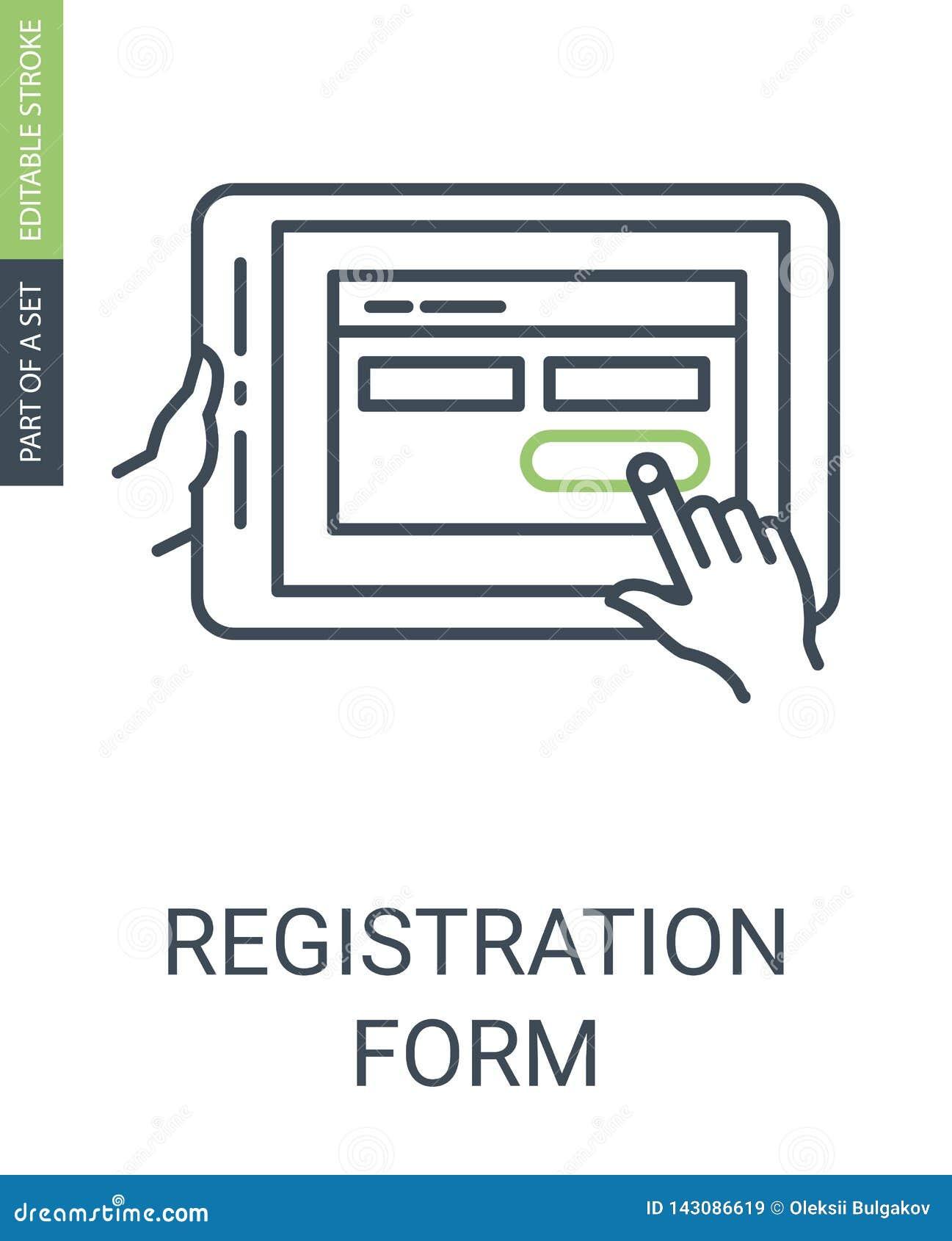 Εικονίδιο αίτησης εγγραφής με το ύφος περιλήψεων και το κτύπημα Editable