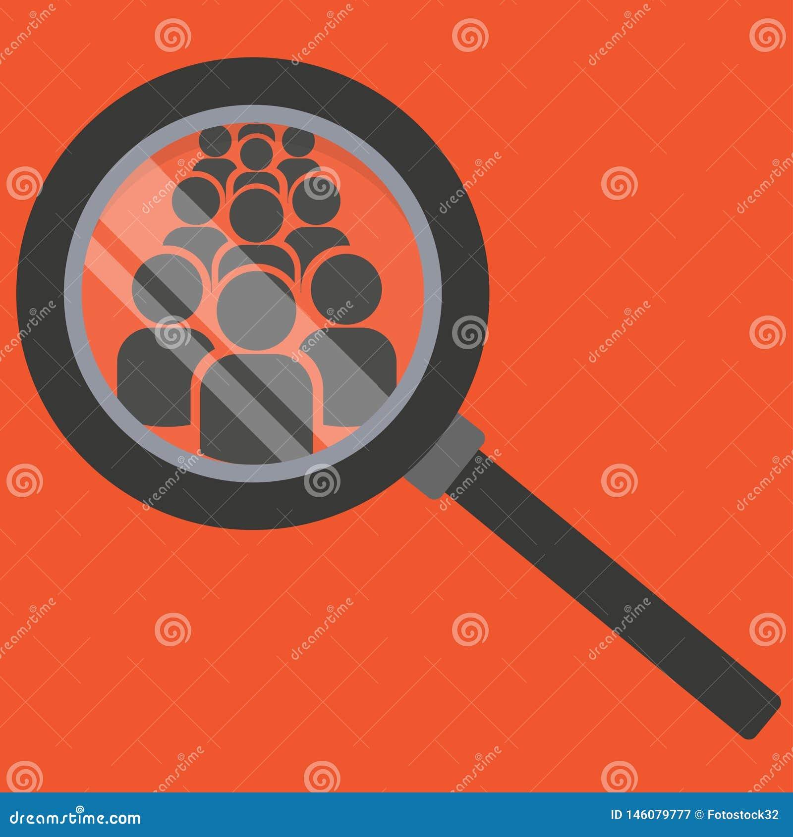 Εικονίδιο αναζήτησης ομάδας Εξετάστε τους ανθρώπους κάτω από μια ενίσχυση - γυαλί
