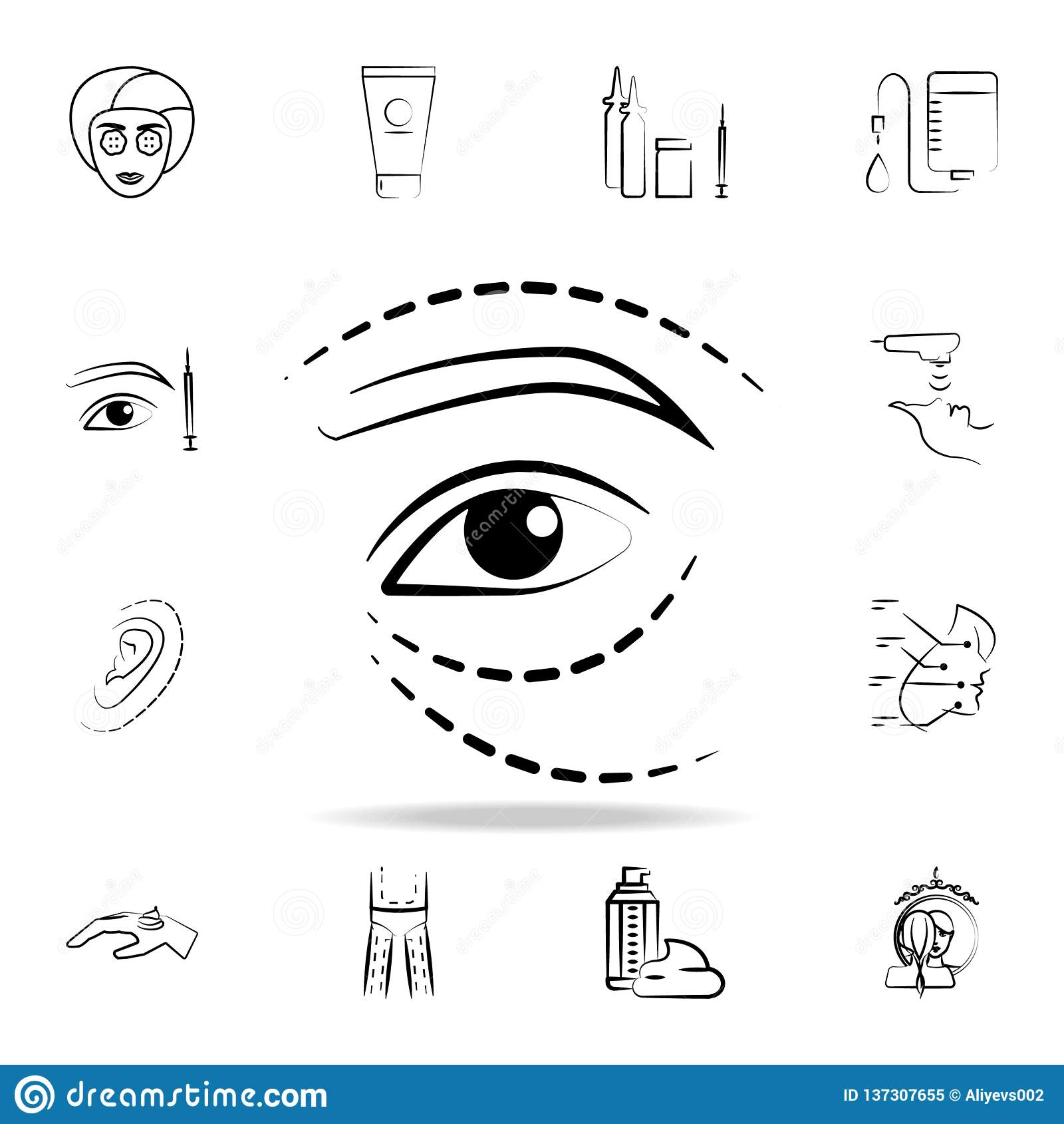 εικονίδιο ανελκυστήρων ματιών Λεπτομερές σύνολο εικονιδίων διαδικασίας αντι-γήρανσης Γραφικό σχέδιο ασφαλίστρου Ένα από τα εικονί