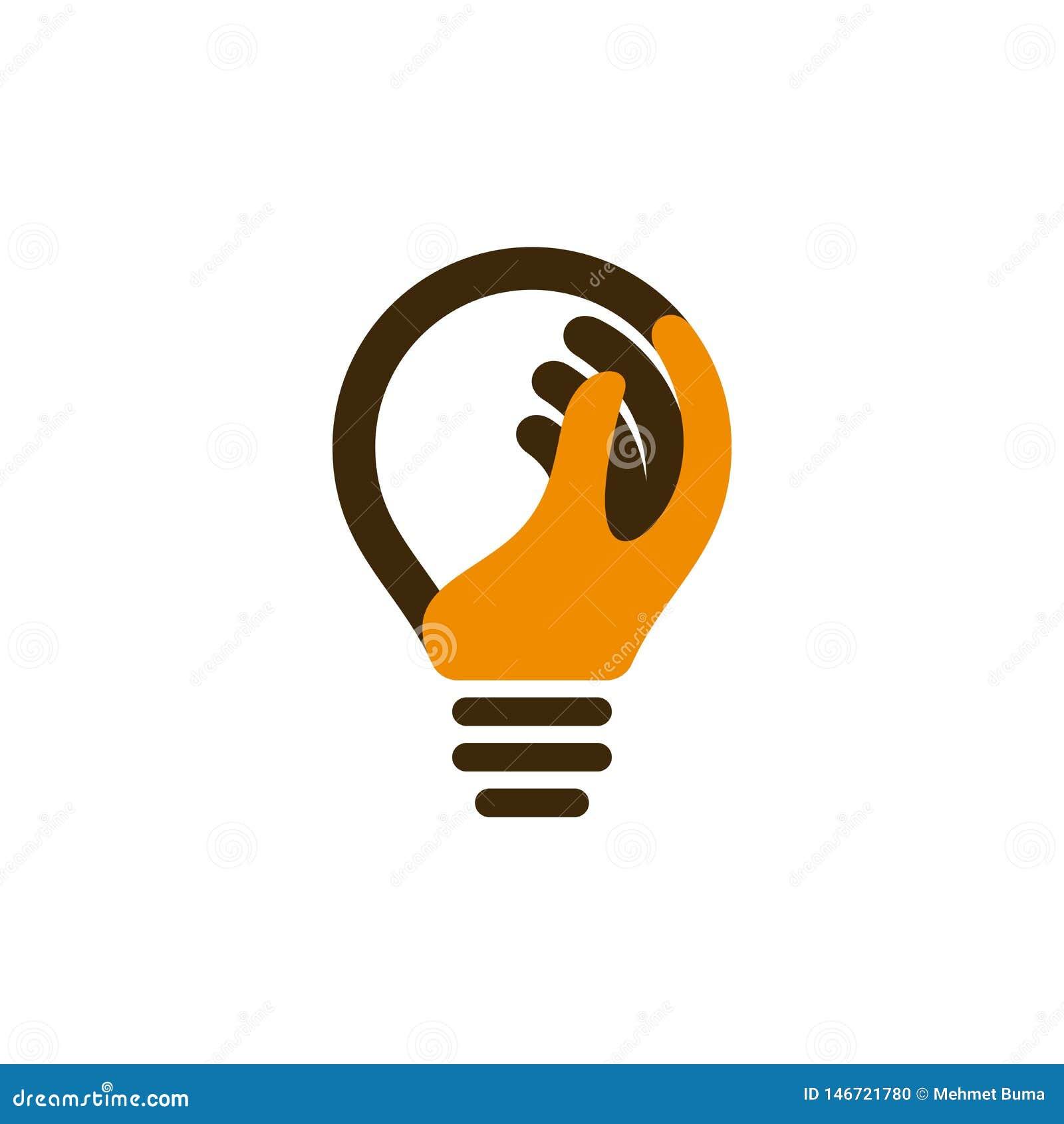 Εικονίδιο βολβών με το ανθρώπινο χέρι