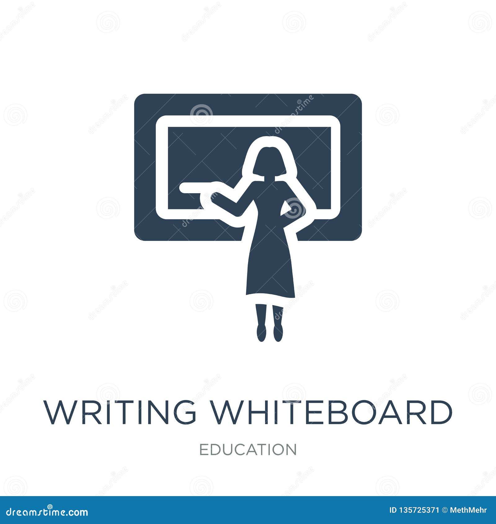 εικονίδιο γραψίματος whiteboard στο καθιερώνον τη μόδα ύφος σχεδίου εικονίδιο γραψίματος whiteboard που απομονώνεται στο άσπρο υπ