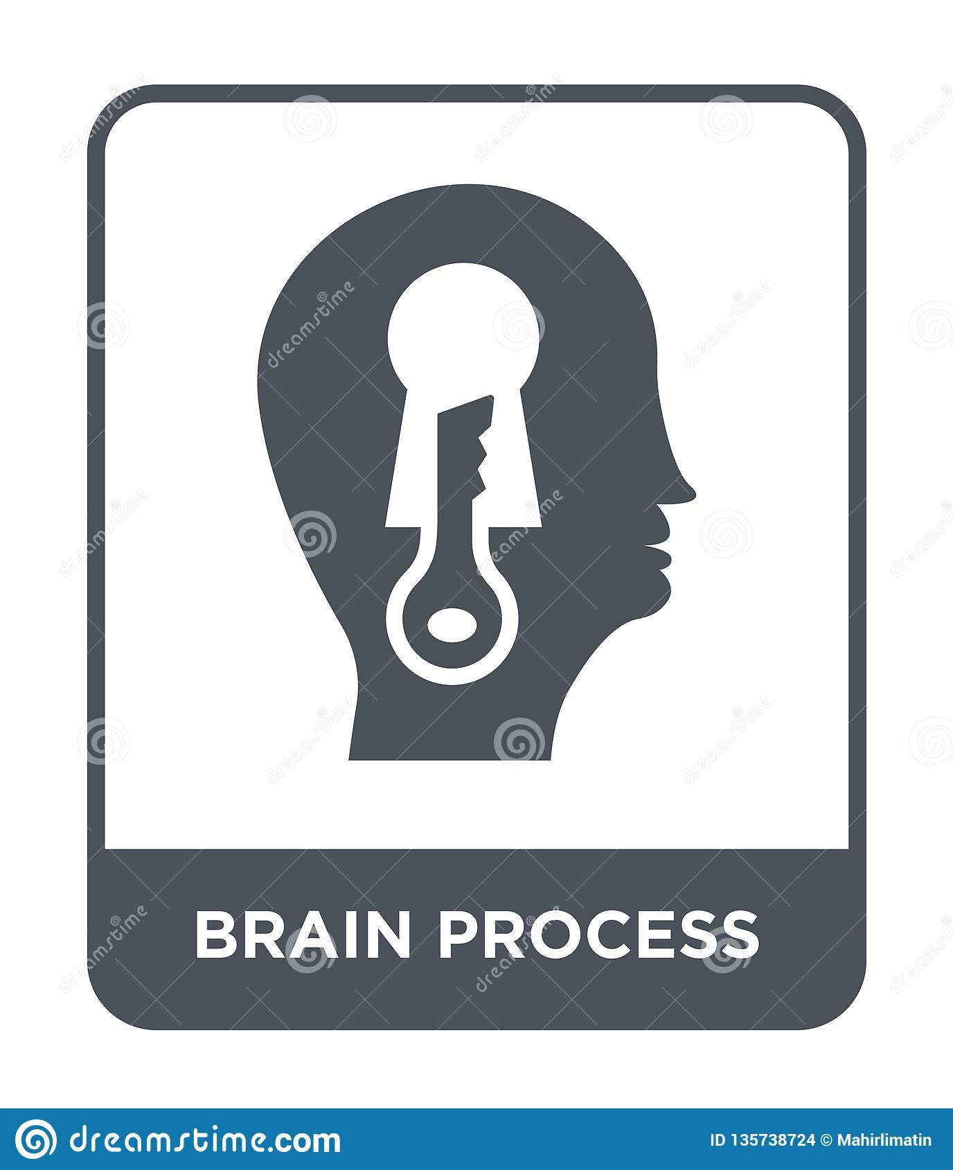 εικονίδιο διαδικασίας εγκεφάλου στο καθιερώνον τη μόδα ύφος σχεδίου εικονίδιο διαδικασίας εγκεφάλου που απομονώνεται στο άσπρο υπ