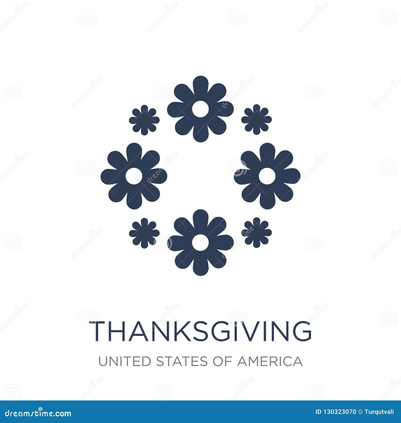 Εικονίδιο διακοσμήσεων ημέρας των ευχαριστιών Καθιερώνον τη μόδα επίπεδο διανυσματικό orna ημέρας των ευχαριστιών