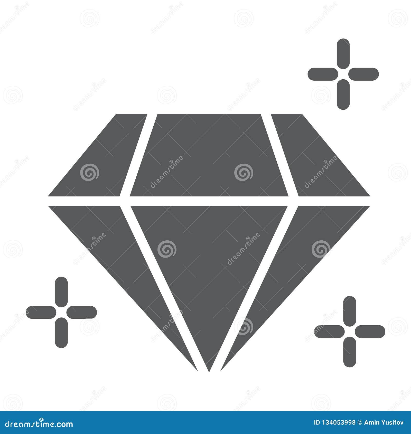 Εικονίδιο διαμαντιών glyph, κοσμήματα και βοηθητικό, λαμπρό σημάδι, διανυσματική γραφική παράσταση, ένα στερεό σχέδιο σε ένα άσπρ